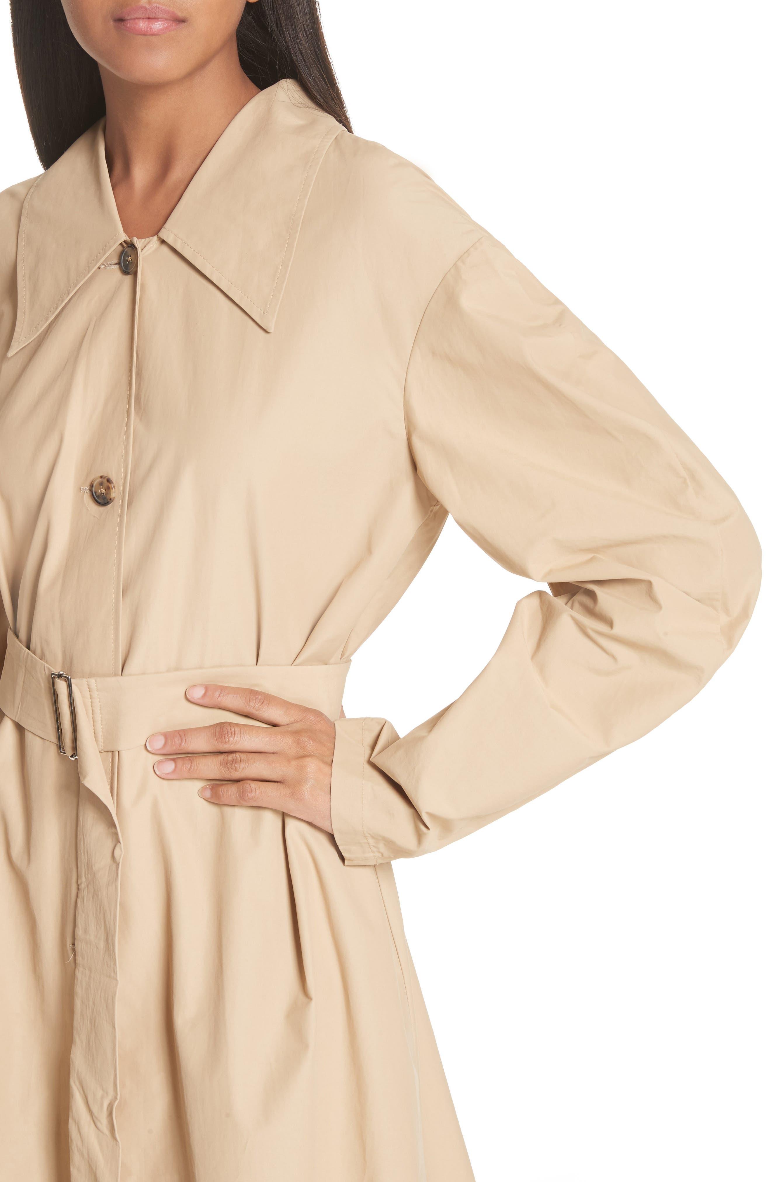 Round Sleeve Coat with Polka Dot Back Panel,                             Alternate thumbnail 4, color,