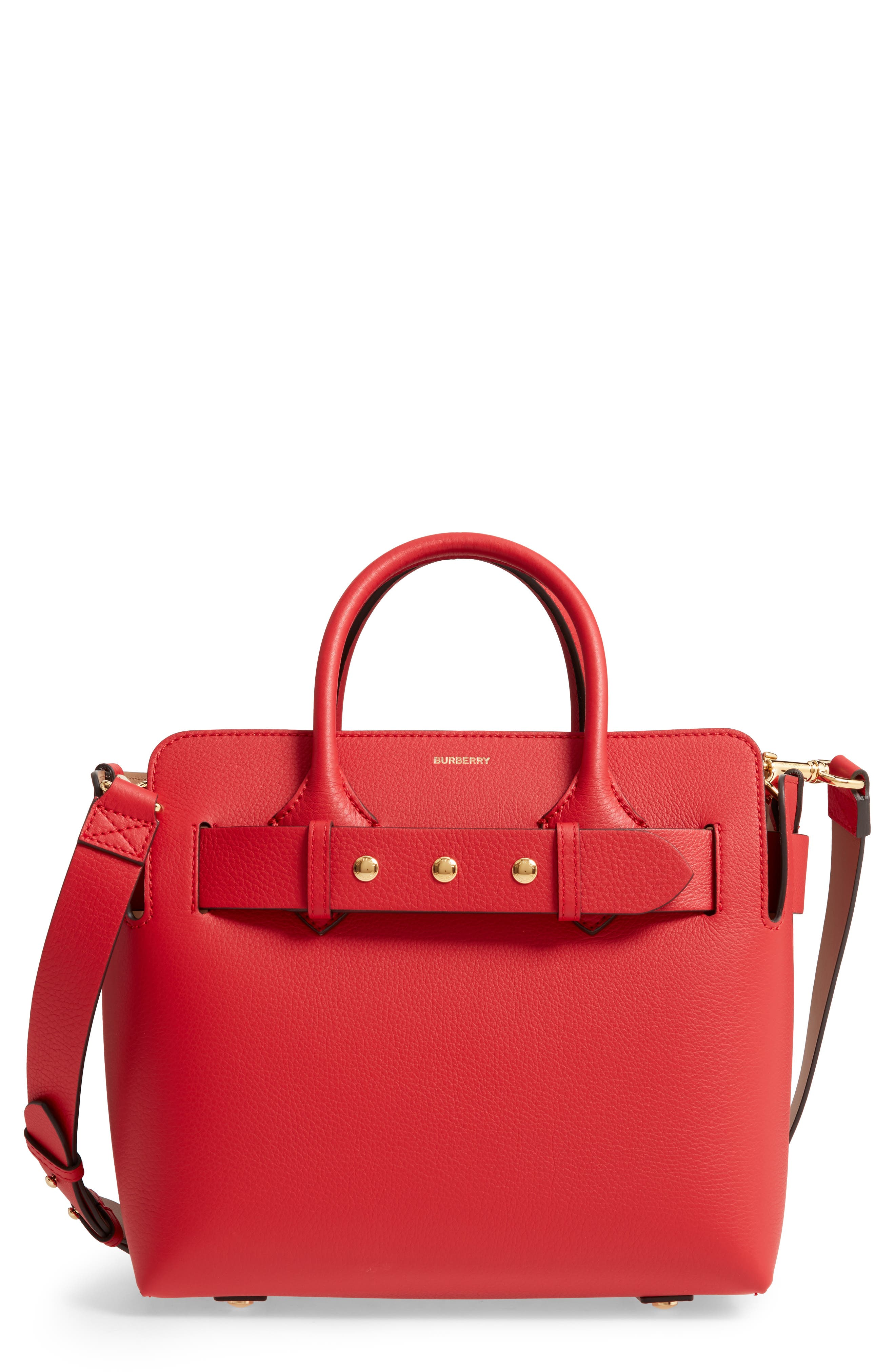 BURBERRY Small Belt Leather Satchel, Main, color, BRIGHT MILITARY RED