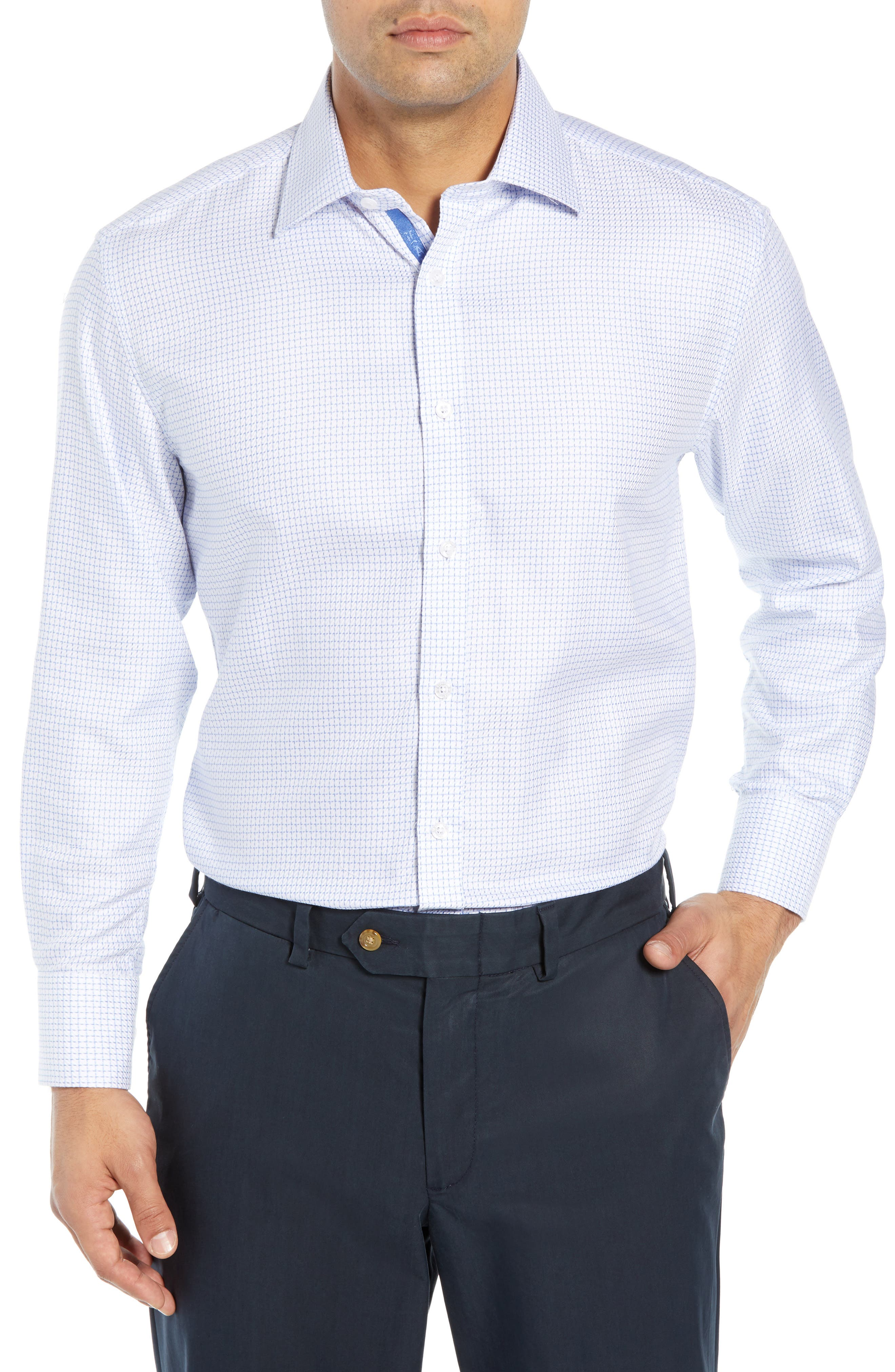 ENGLISH LAUNDRY Regular Fit Check Dress Shirt in Blue