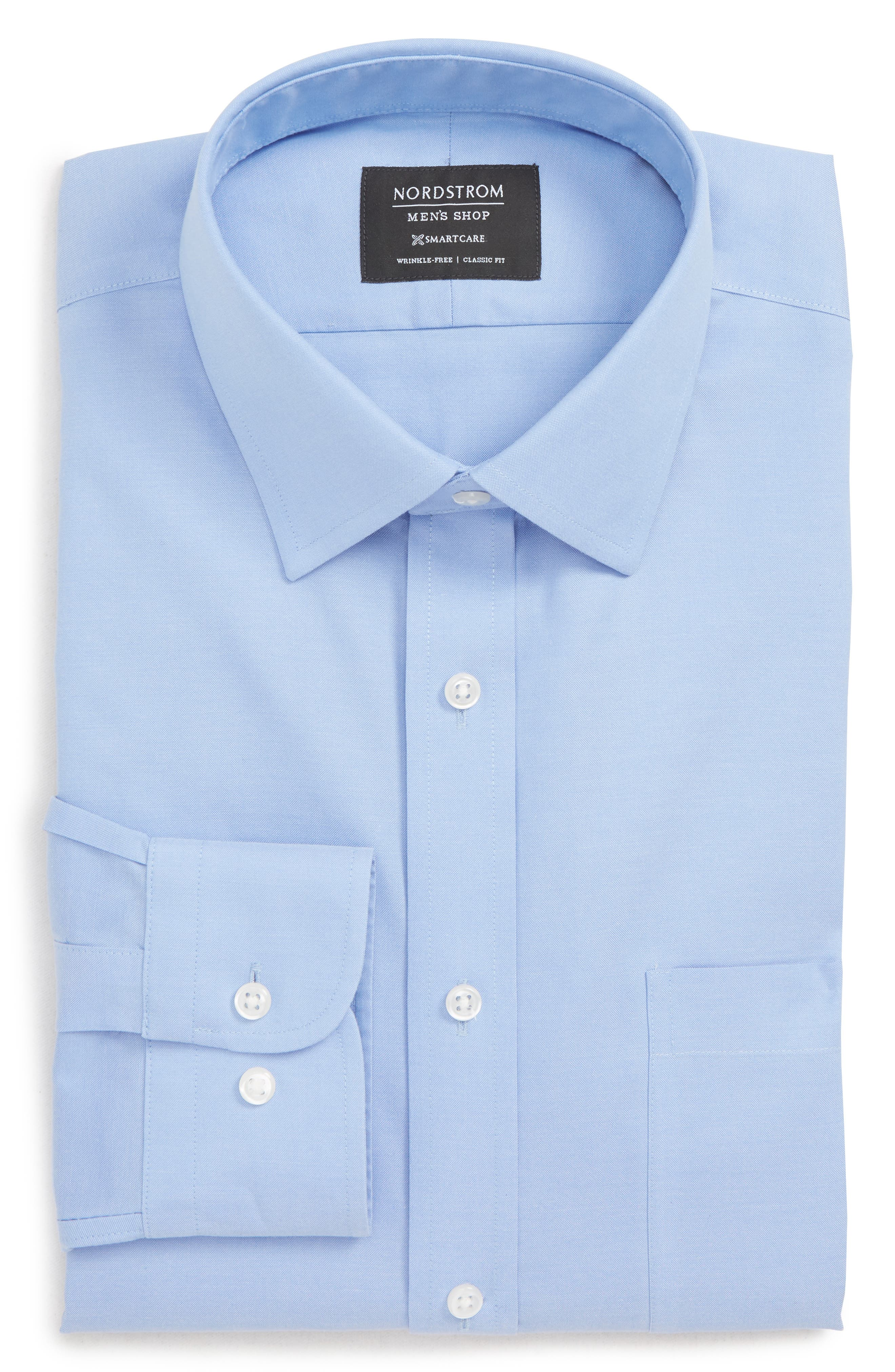 Nordstrom Shop Smartcare(TM) Classic Fit Solid Dress Shirt - Blue (Online Only)