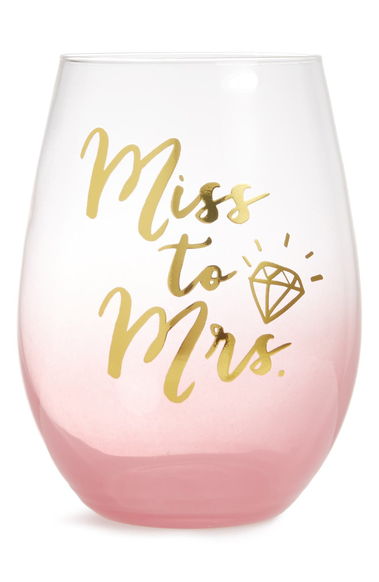Miss To Mrs. Stemless Wine Glass,                         Main,                         color,