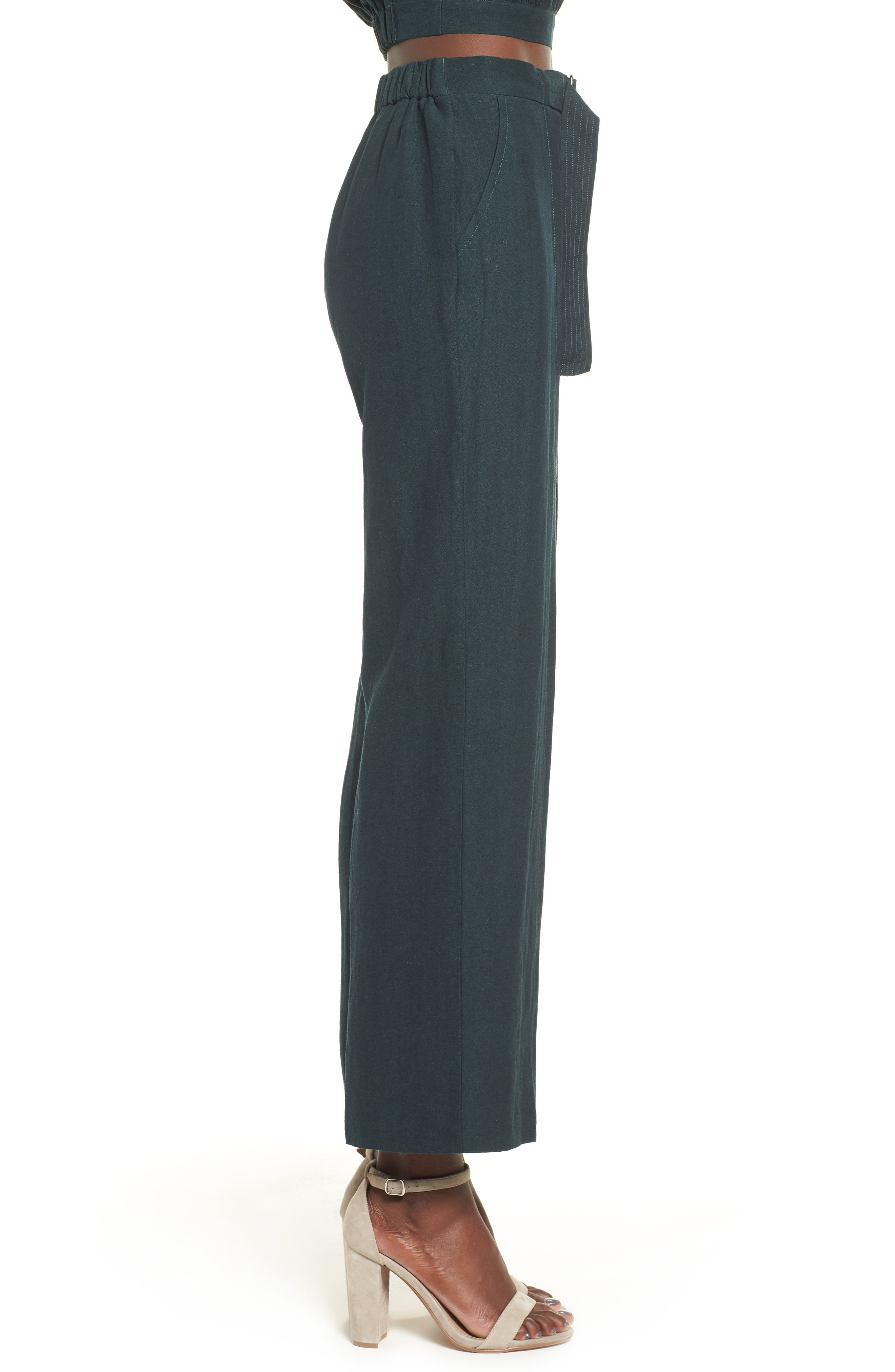 Belted High Waist Pants,                             Alternate thumbnail 3, color,                             FOREST