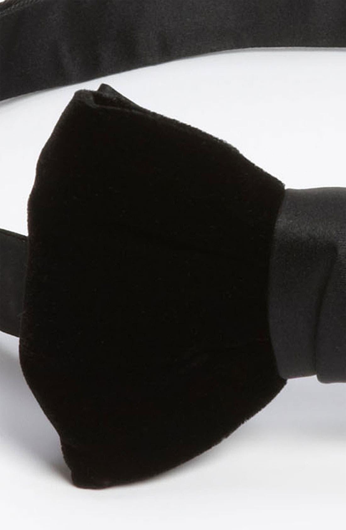 YVES SAINT LAURENT,                             'Paris' Velvet Bow Tie,                             Alternate thumbnail 2, color,                             001
