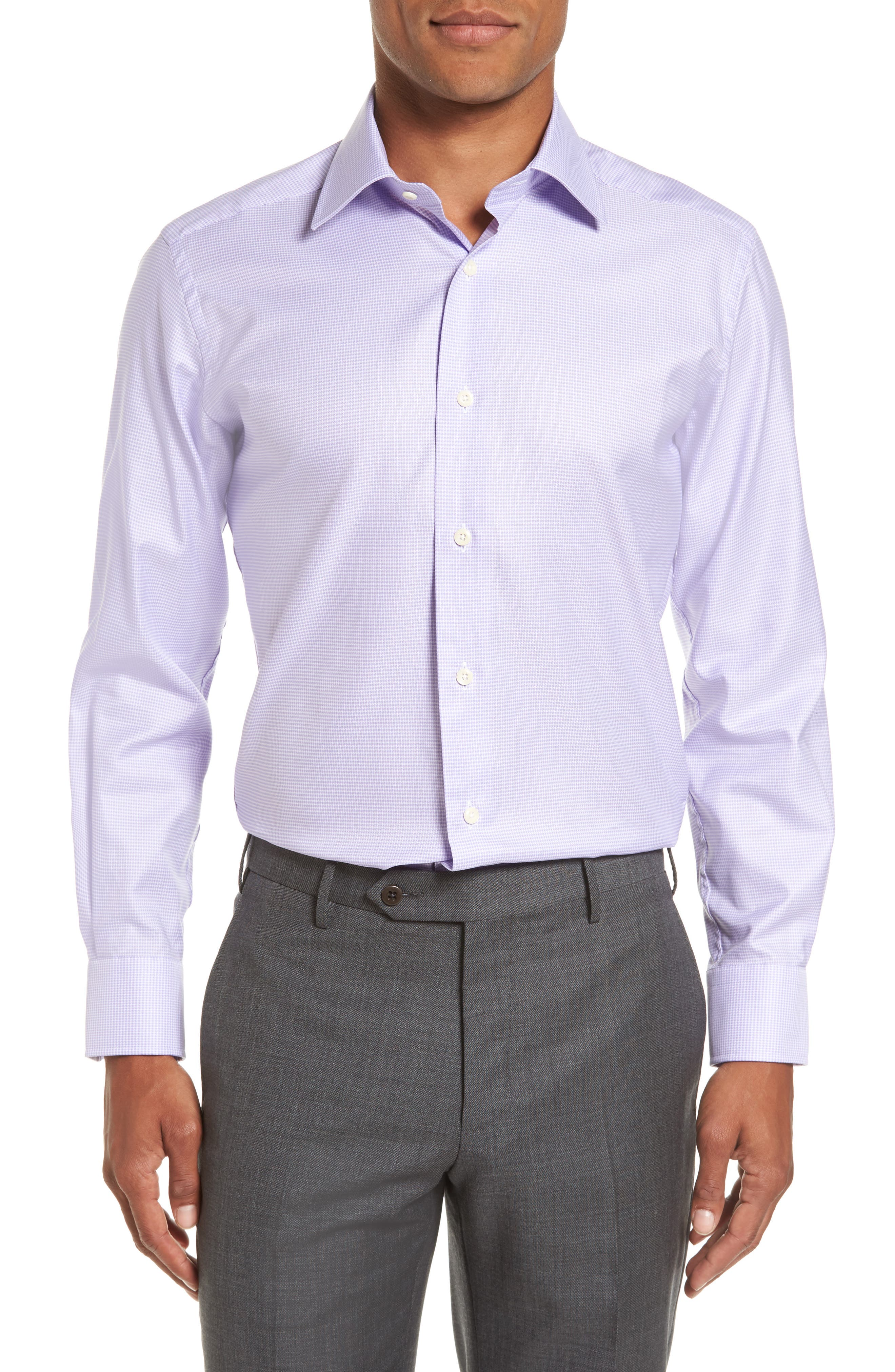 Trim Fit Houndstooth Dress Shirt,                             Main thumbnail 1, color,                             534