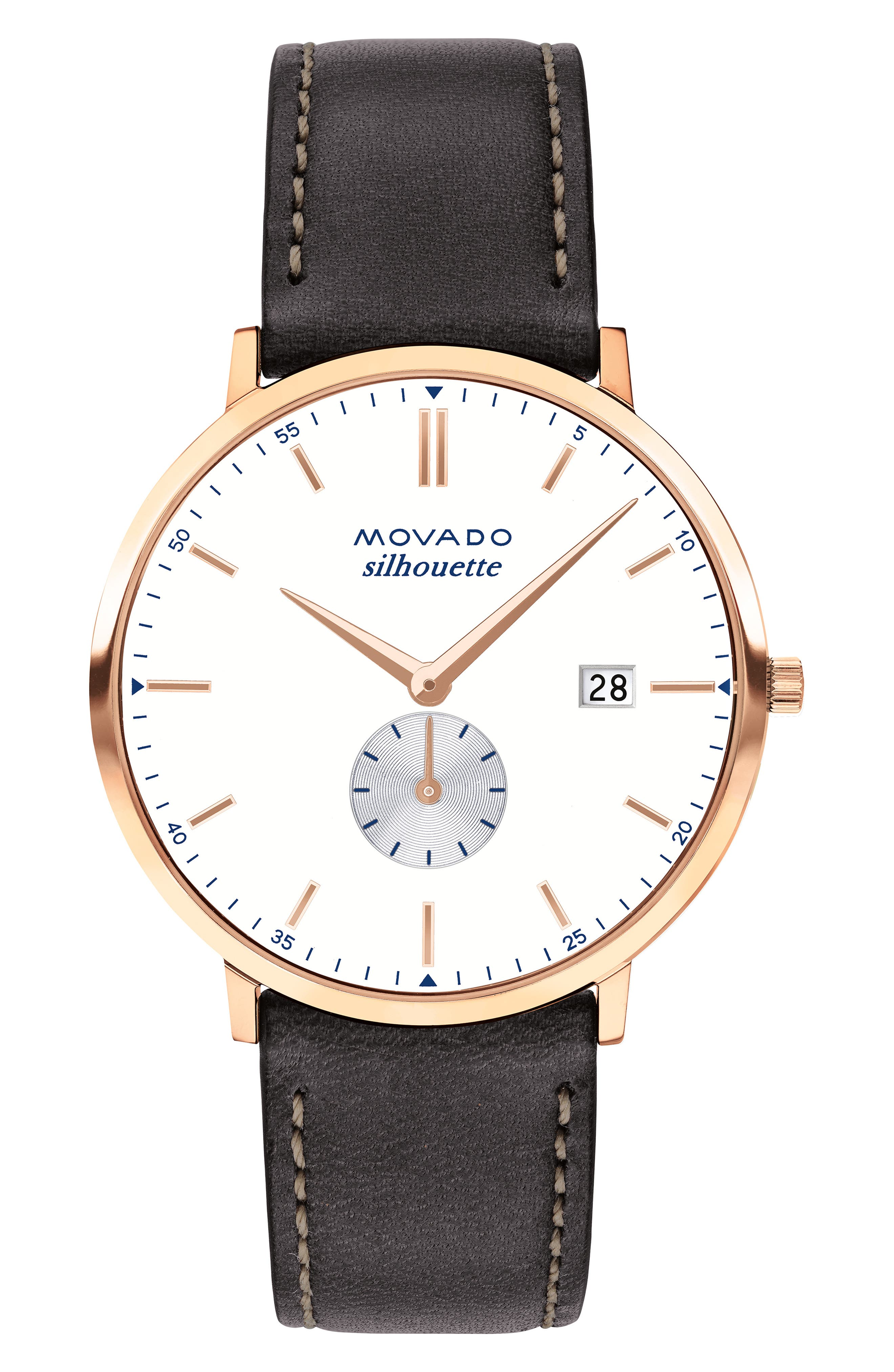 Heritage Silhouette Leather Strap Watch, 40mm,                         Main,                         color, CHOCOLATE/ WHITE/ ROSE GOLD