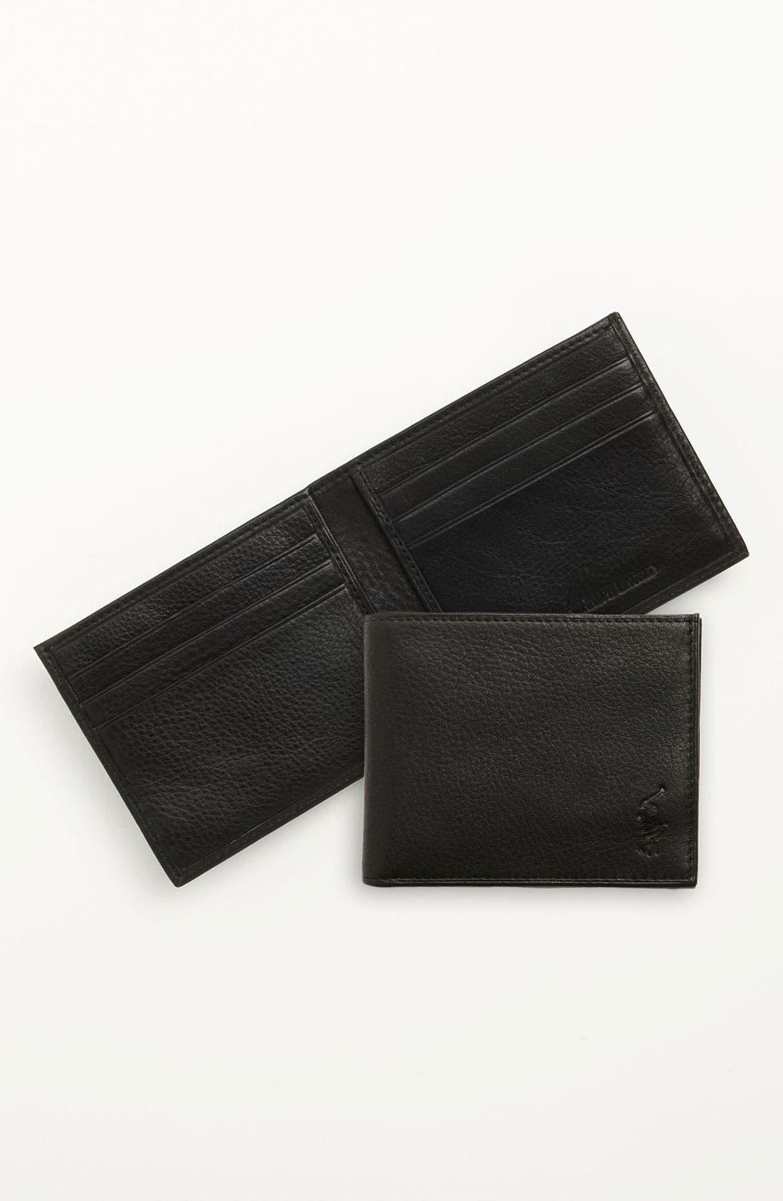Bifold Leather Wallet,                             Alternate thumbnail 5, color,                             BLACK