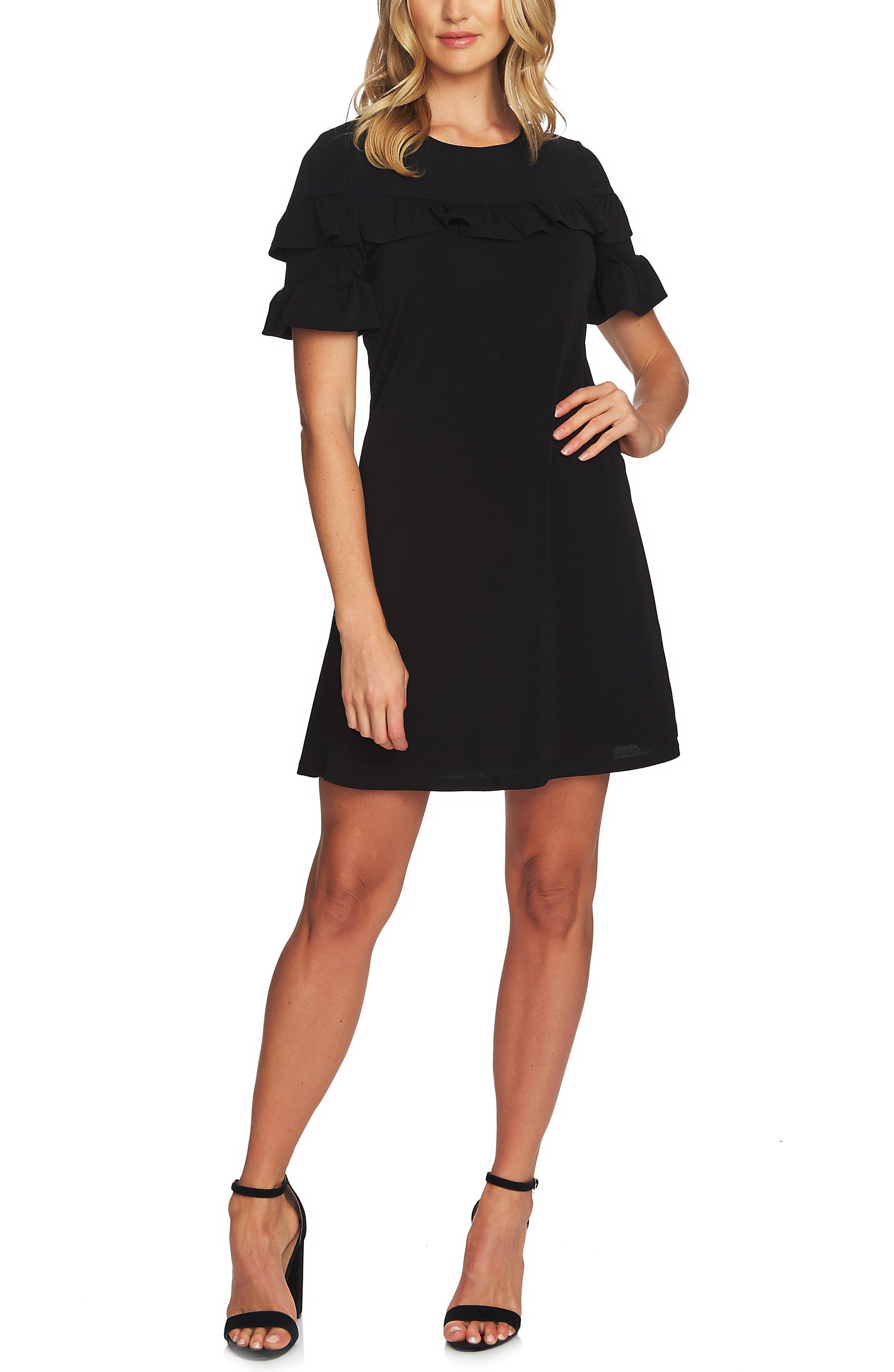 CECE Ruffle Detail Short Sleeve Dress, Main, color, RICH BLACK