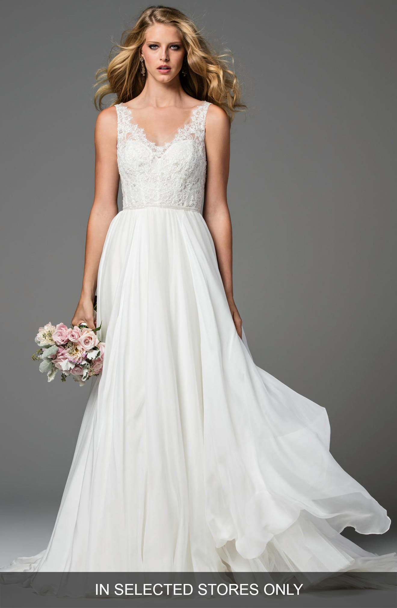 Stafford Silk Organza Gown,                         Main,                         color, IVORY