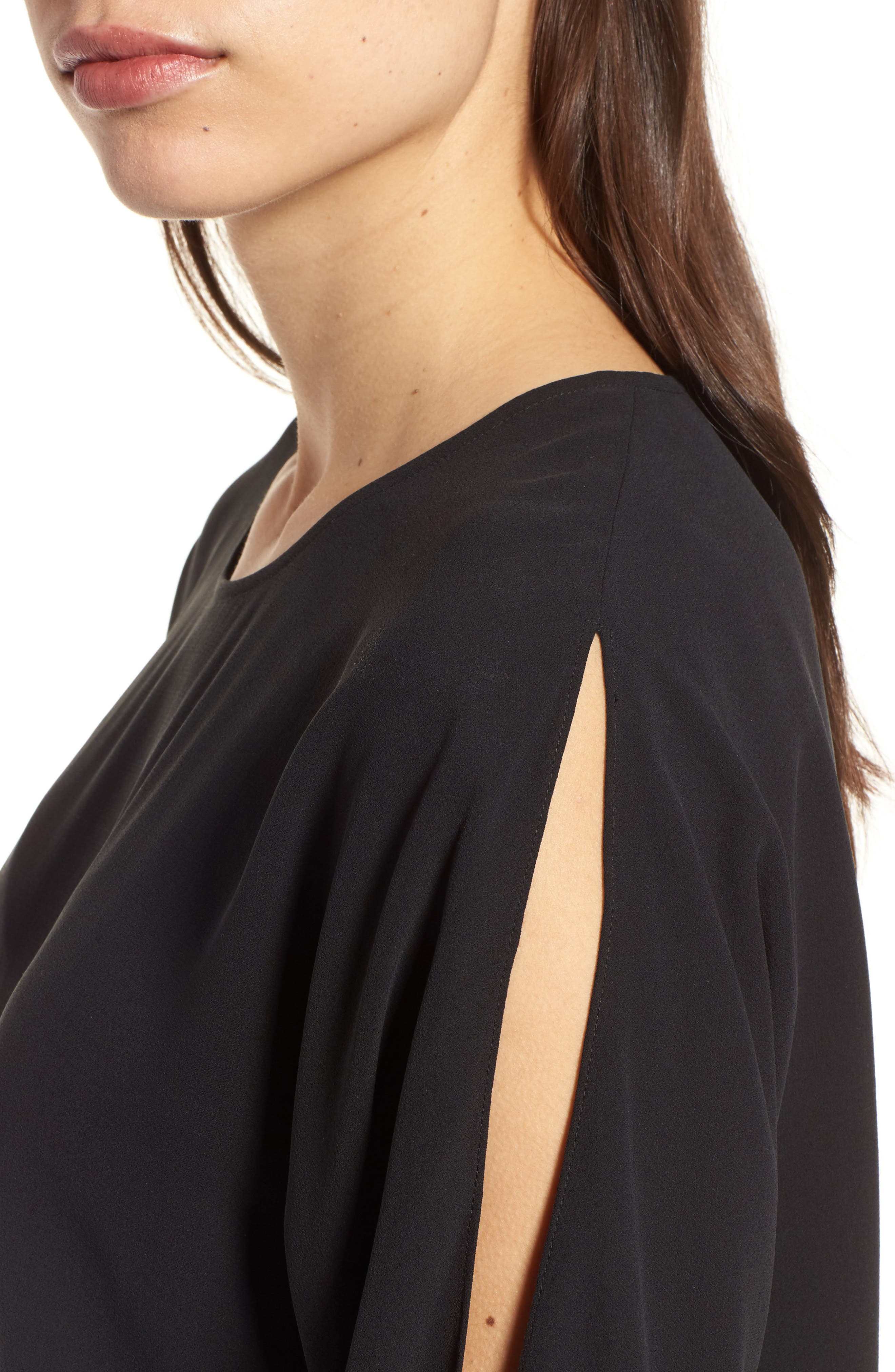 Slit Sleeve Silk Top,                             Alternate thumbnail 10, color,