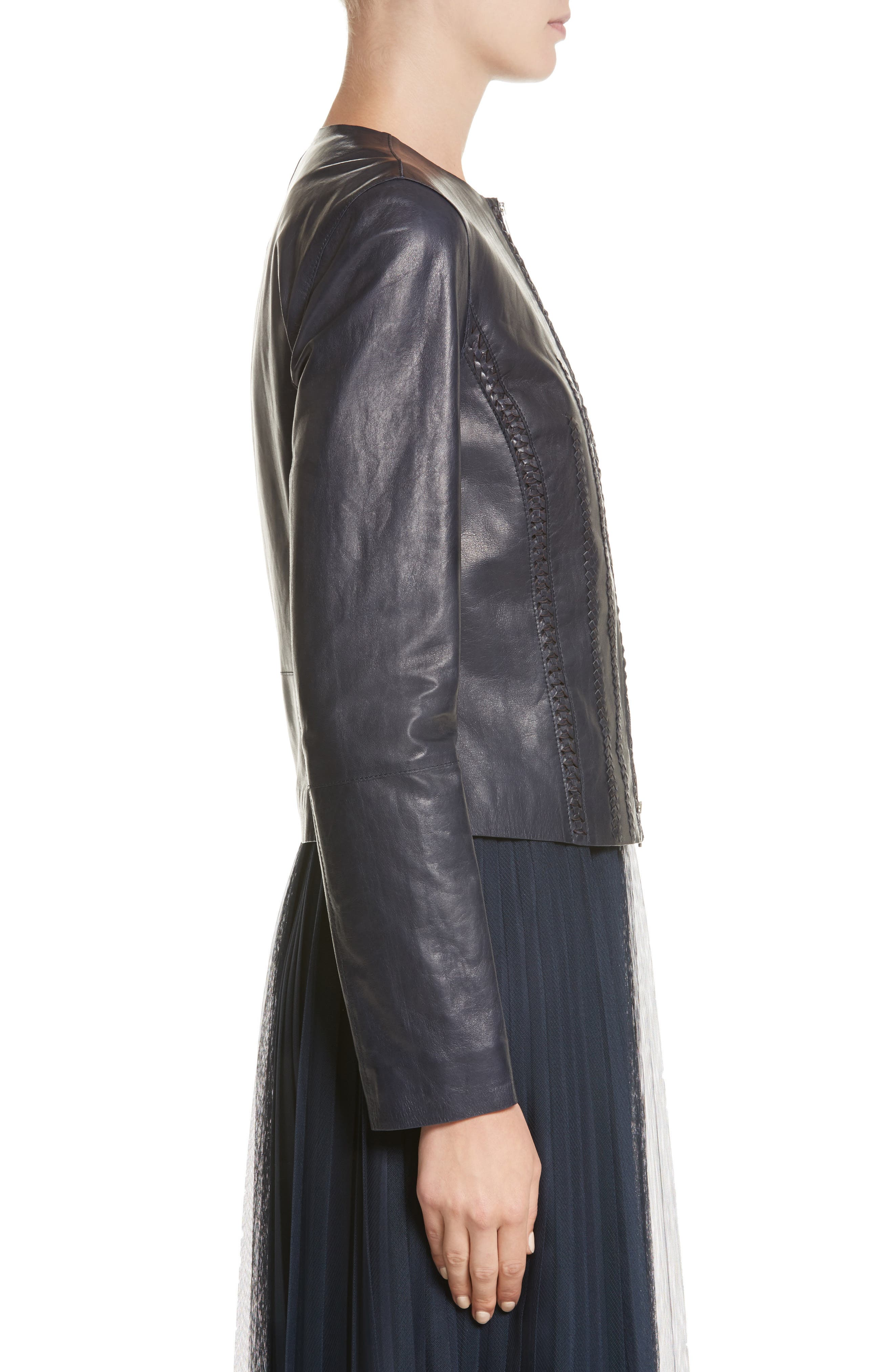 Clyde Lambskin Leather Jacket,                             Alternate thumbnail 3, color,                             479