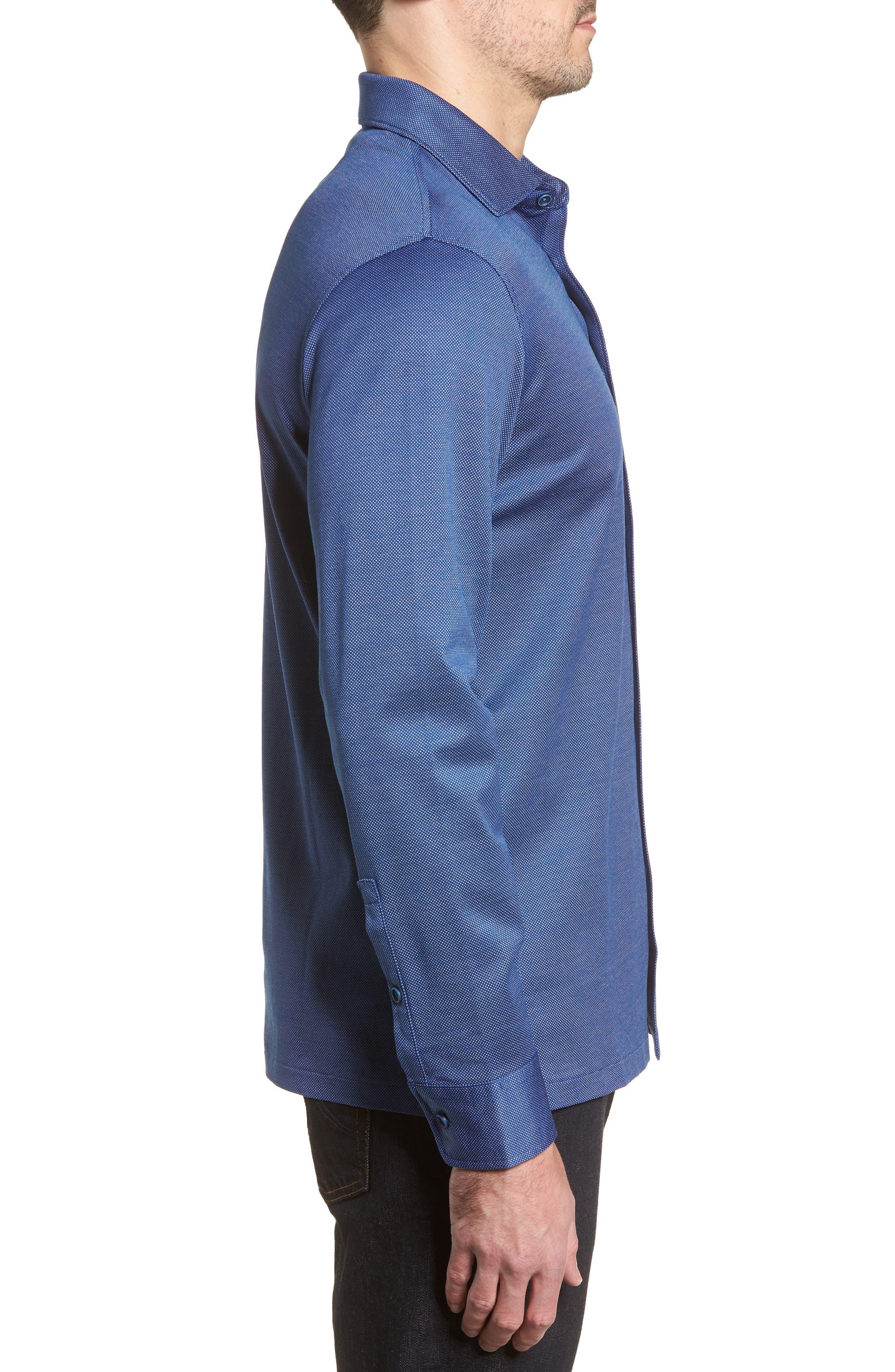 Regular Fit Microdot Print Knit Sport Shirt,                             Alternate thumbnail 3, color,                             411