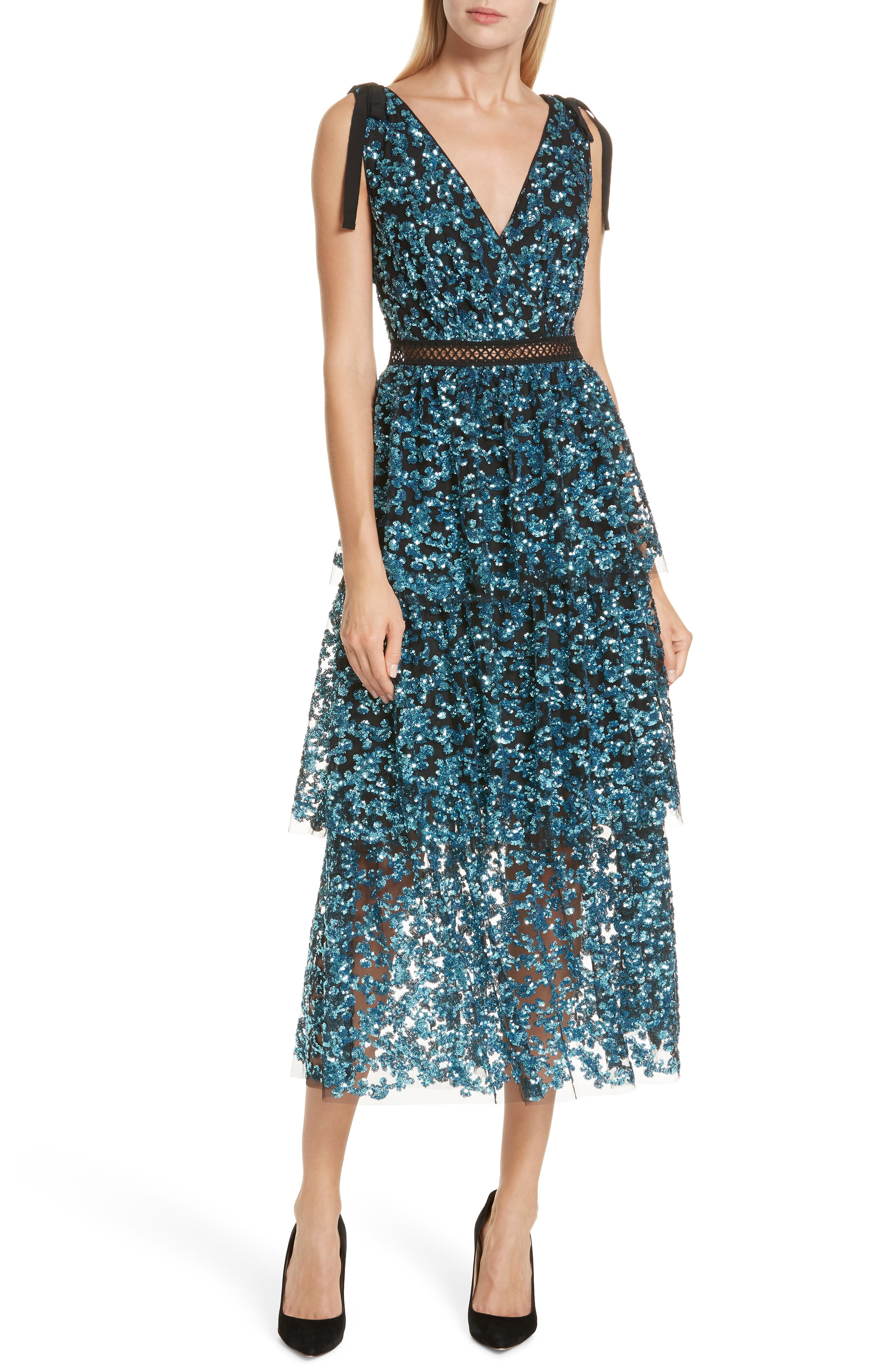 Tiered Sequined Midi Dress,                         Main,                         color, BLUE