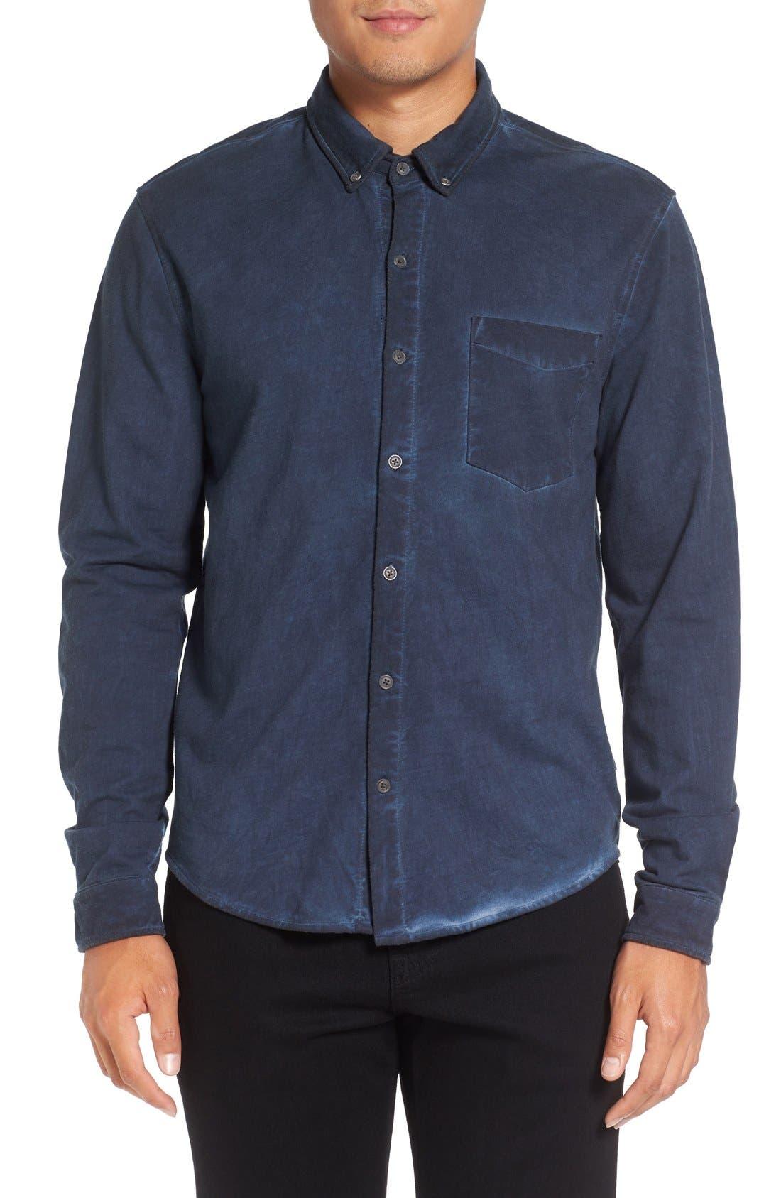 Slim Fit Garment Washed Sport Shirt,                             Main thumbnail 1, color,