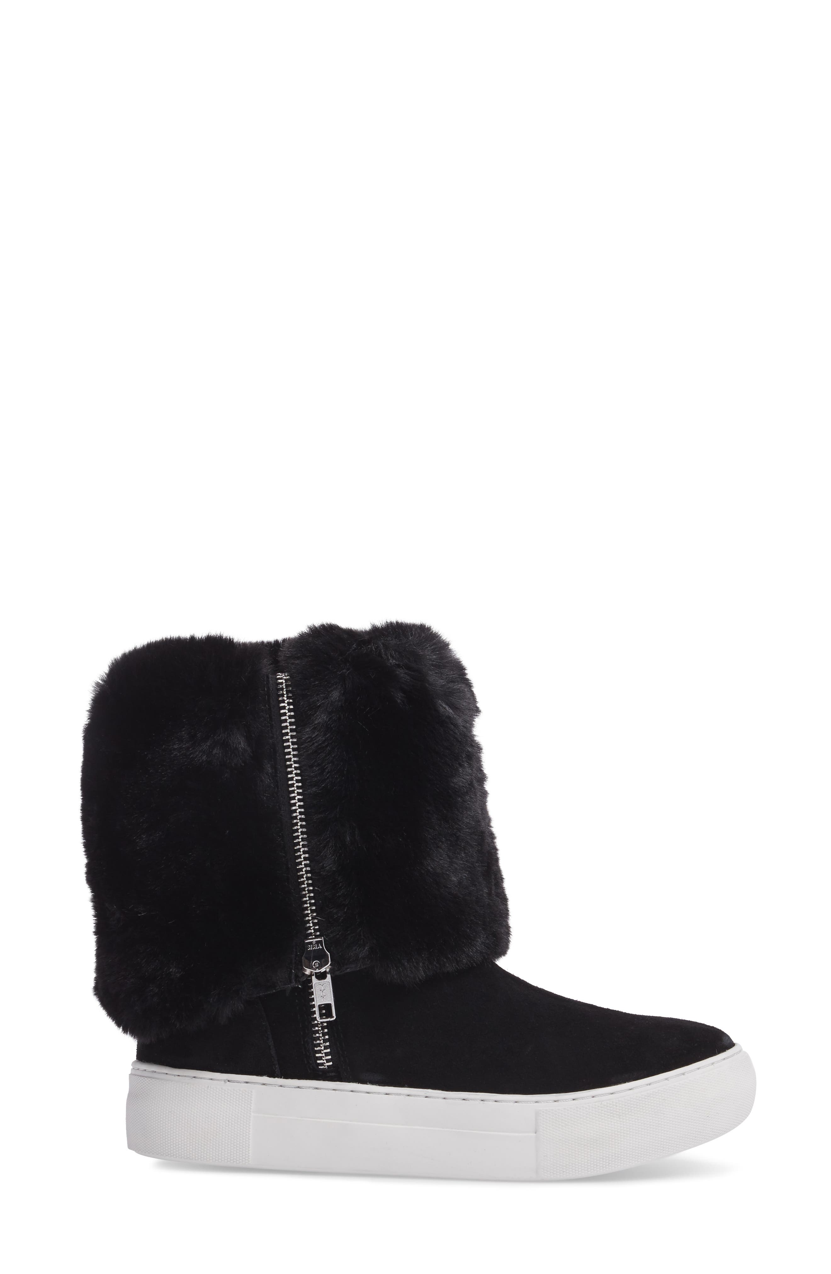 Apple Faux Shearling Boot,                             Alternate thumbnail 4, color,                             BLACK SUEDE