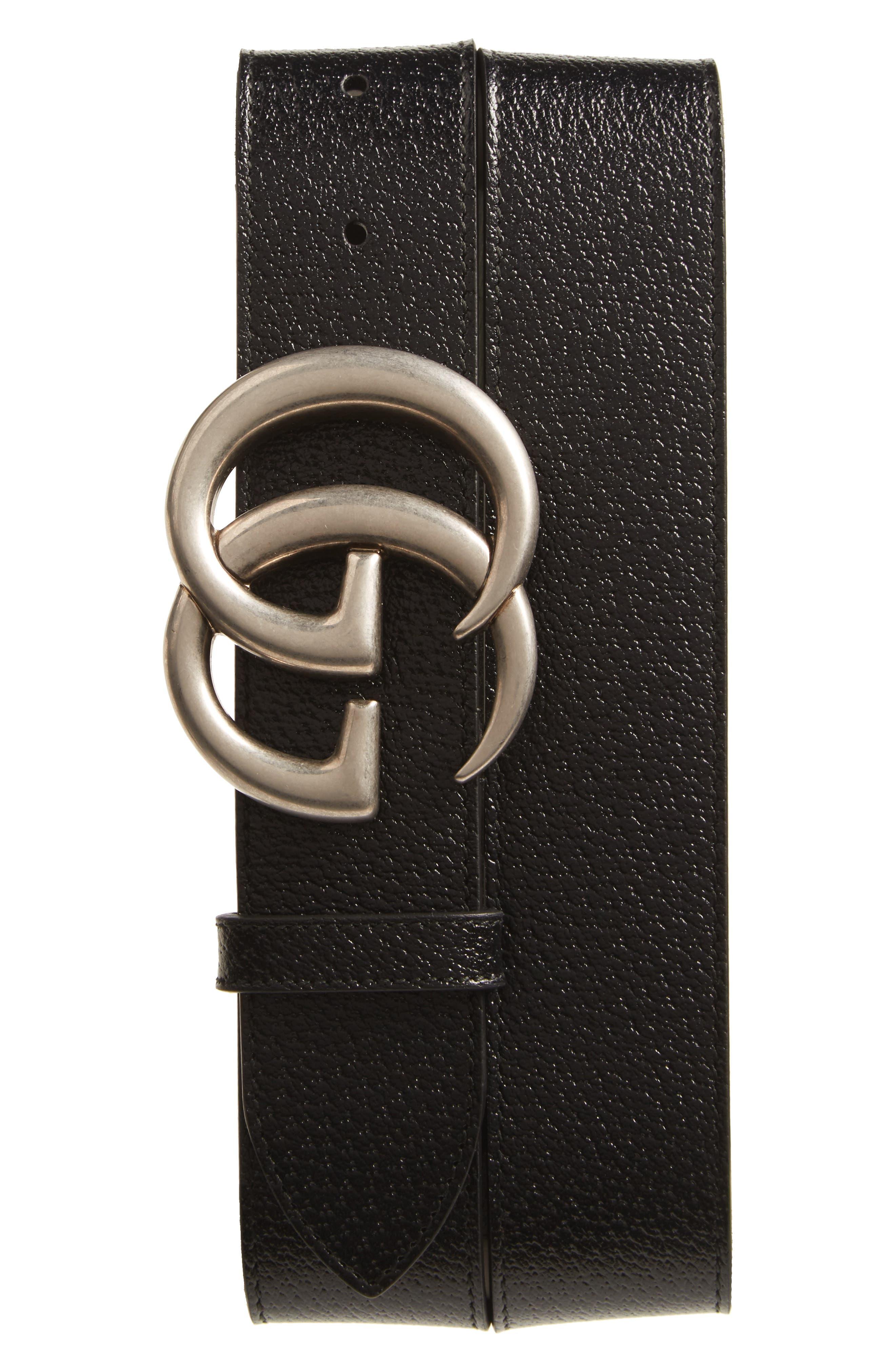 GG Pebbled Leather Belt,                         Main,                         color, BLACK
