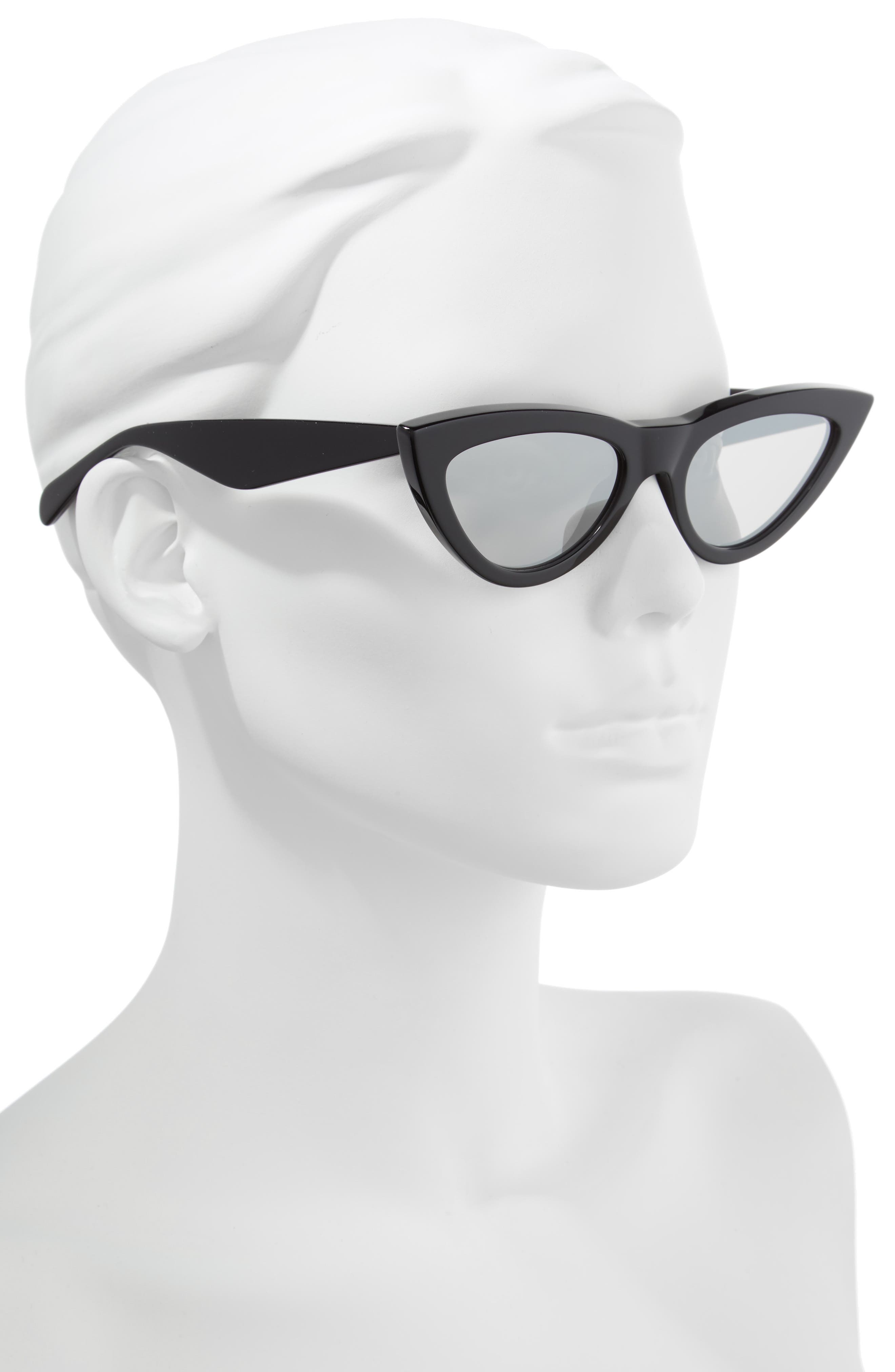 56mm Cat Eye Sunglasses,                             Alternate thumbnail 2, color,                             BLACK/ SILVER FLASH