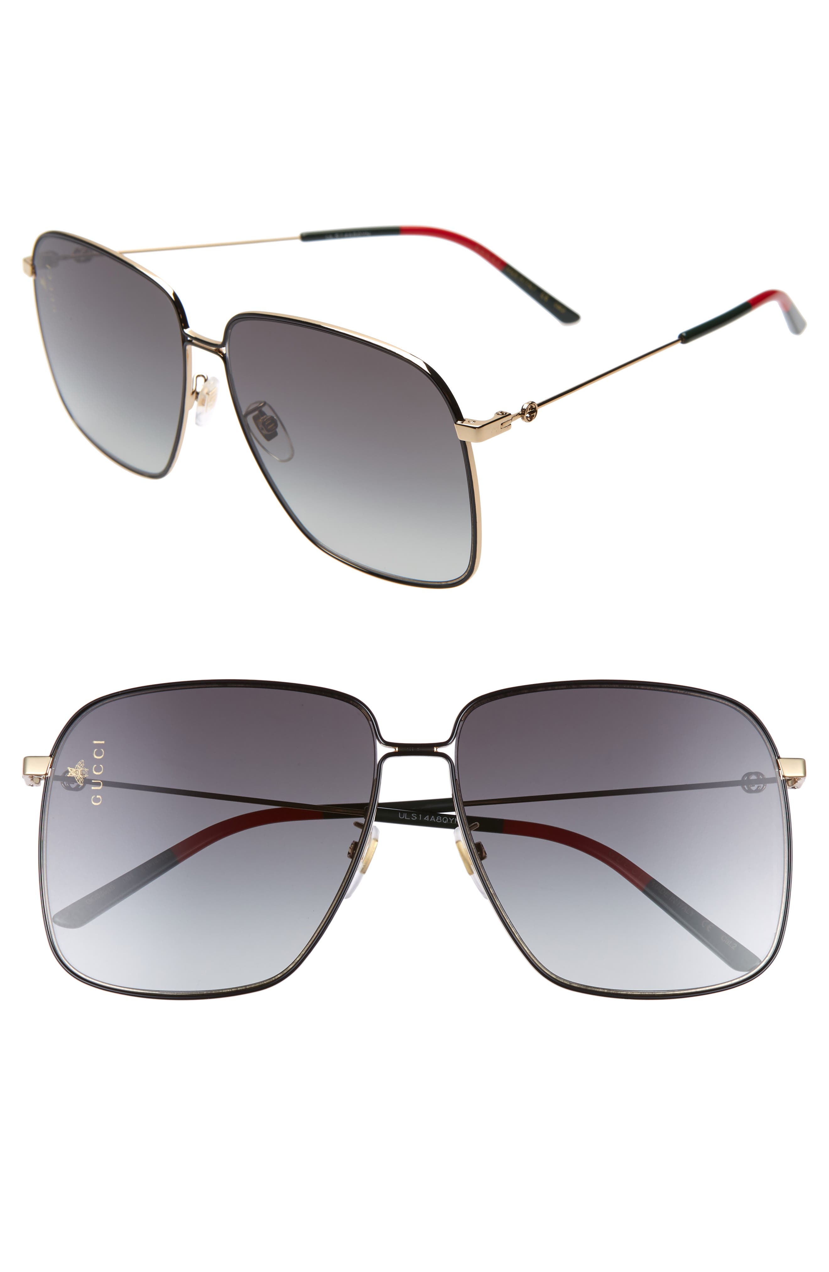 GUCCI 61mm Square Sunglasses, Main, color, GOLD/GREEN/RED/GREY GRADIENT