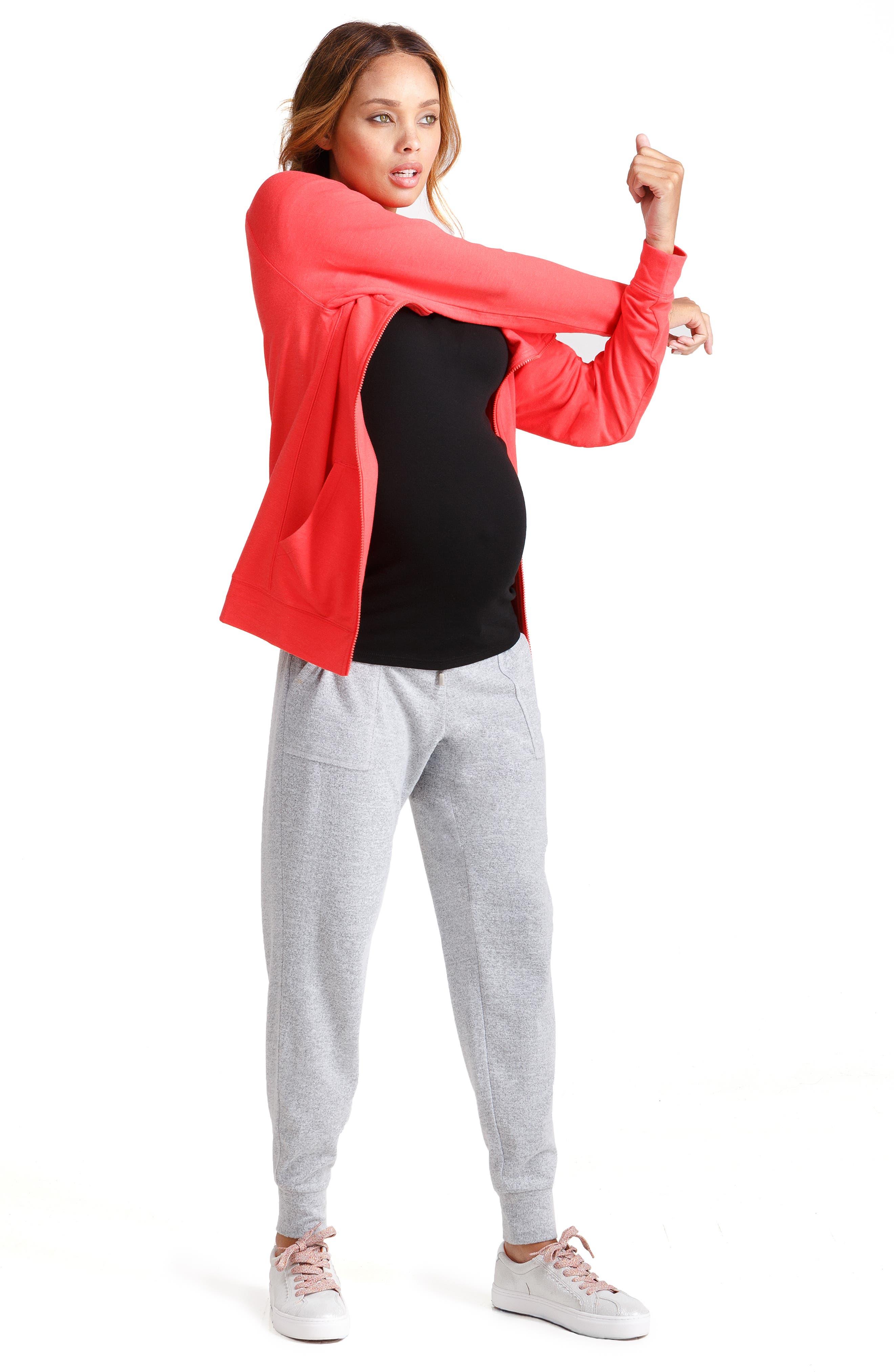 INGRID & ISABEL<SUP>®</SUP>,                             Knit Active Maternity Jogger Pants,                             Alternate thumbnail 4, color,                             LIGHT HEATHER GREY