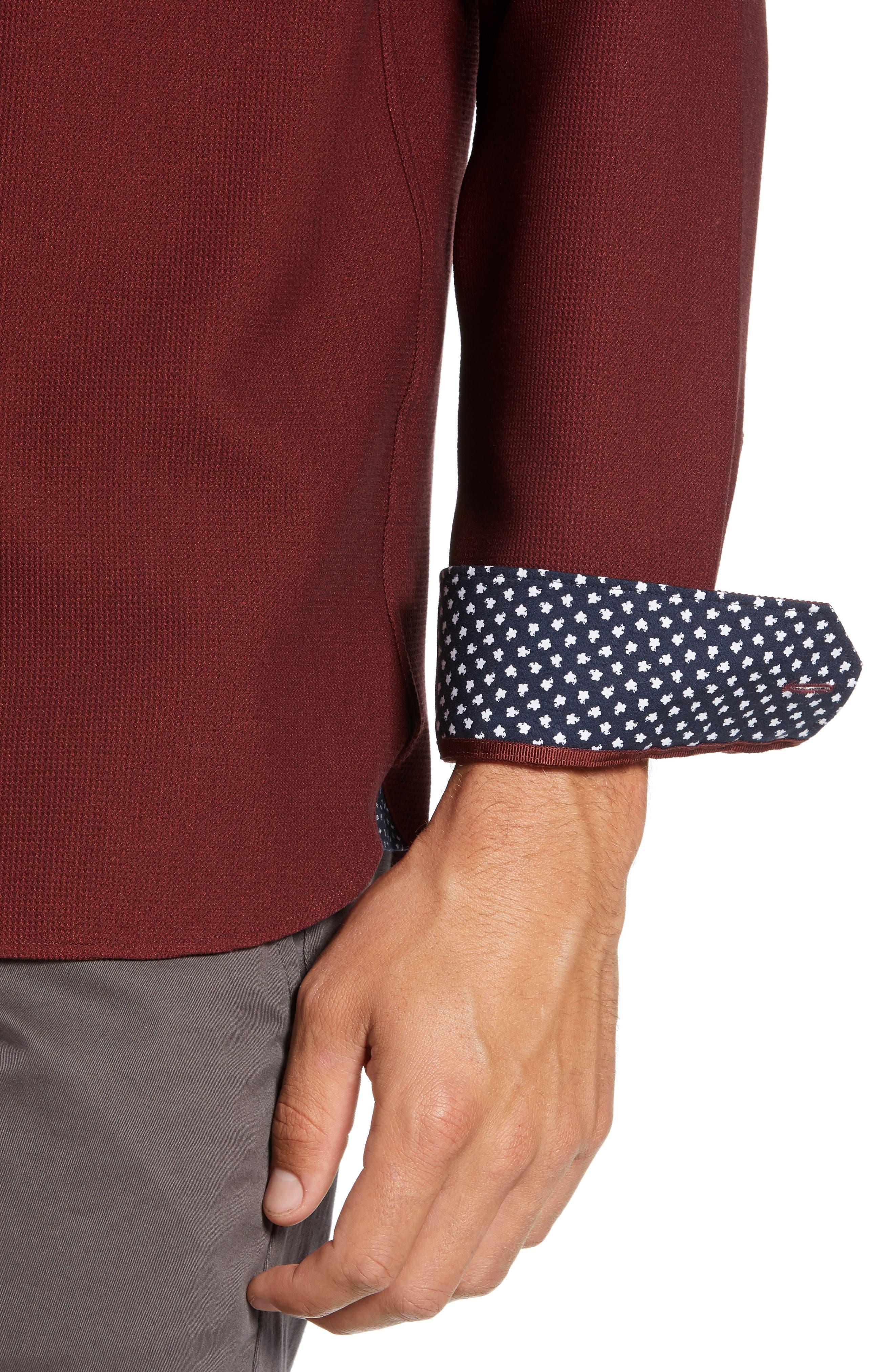 Piccatt Extra Slim Fit Stretch Solid Sport Shirt,                             Alternate thumbnail 2, color,                             DARK RED