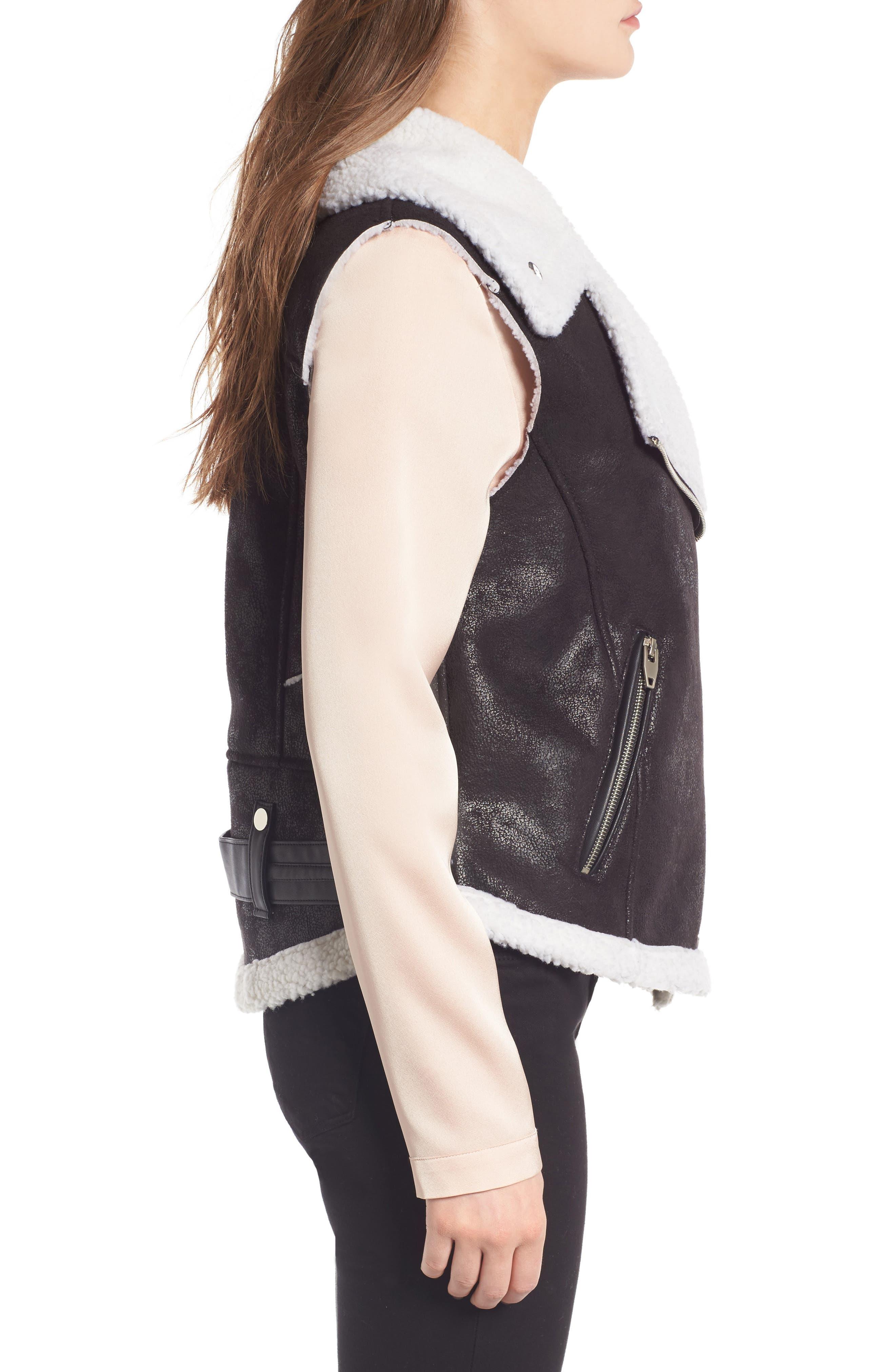 Faux Shearling Moto Vest,                             Alternate thumbnail 3, color,                             001