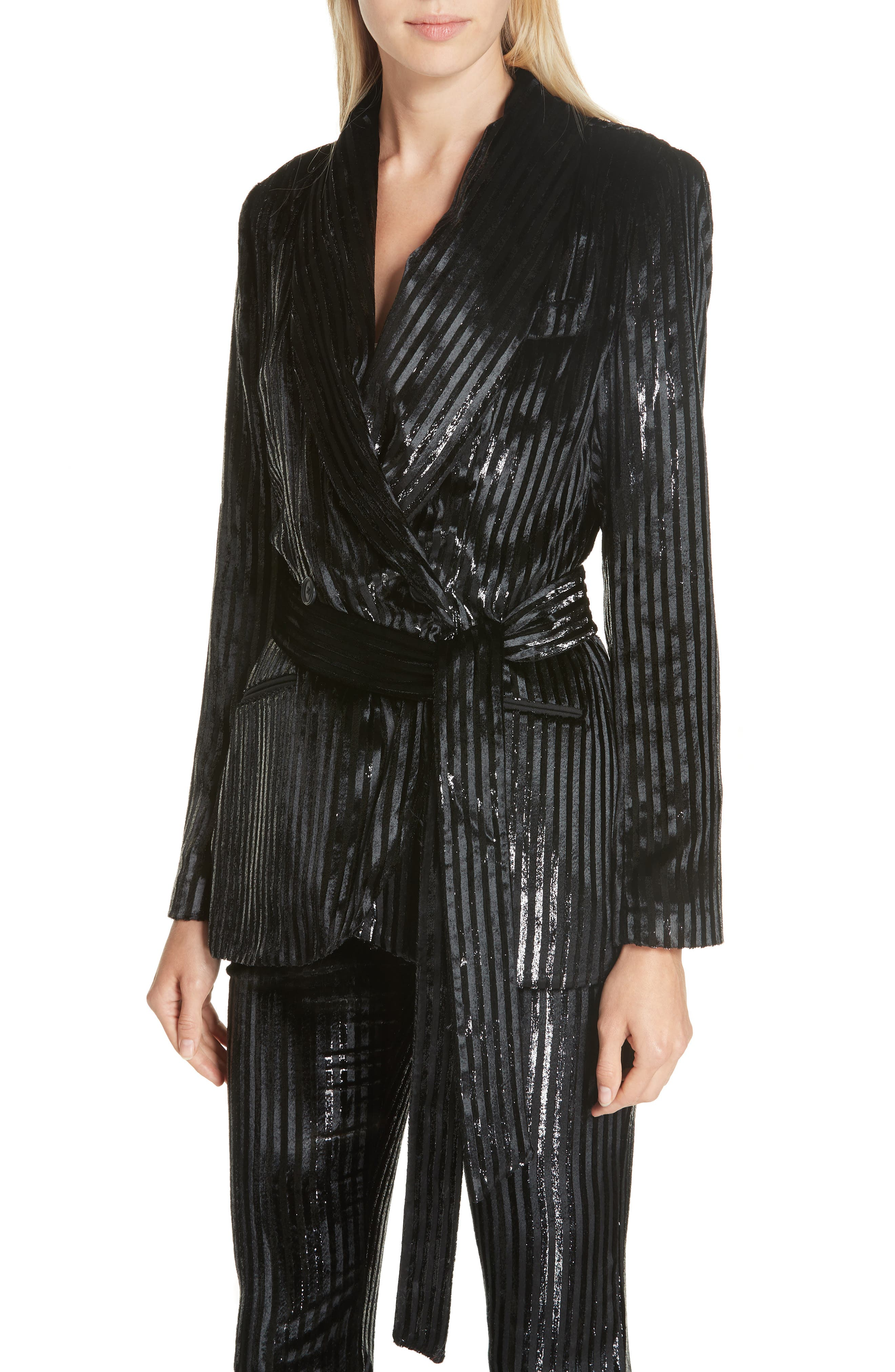 Velvet Stripe Tie Waist Blazer,                             Alternate thumbnail 4, color,                             BLACK LAME STRIPE