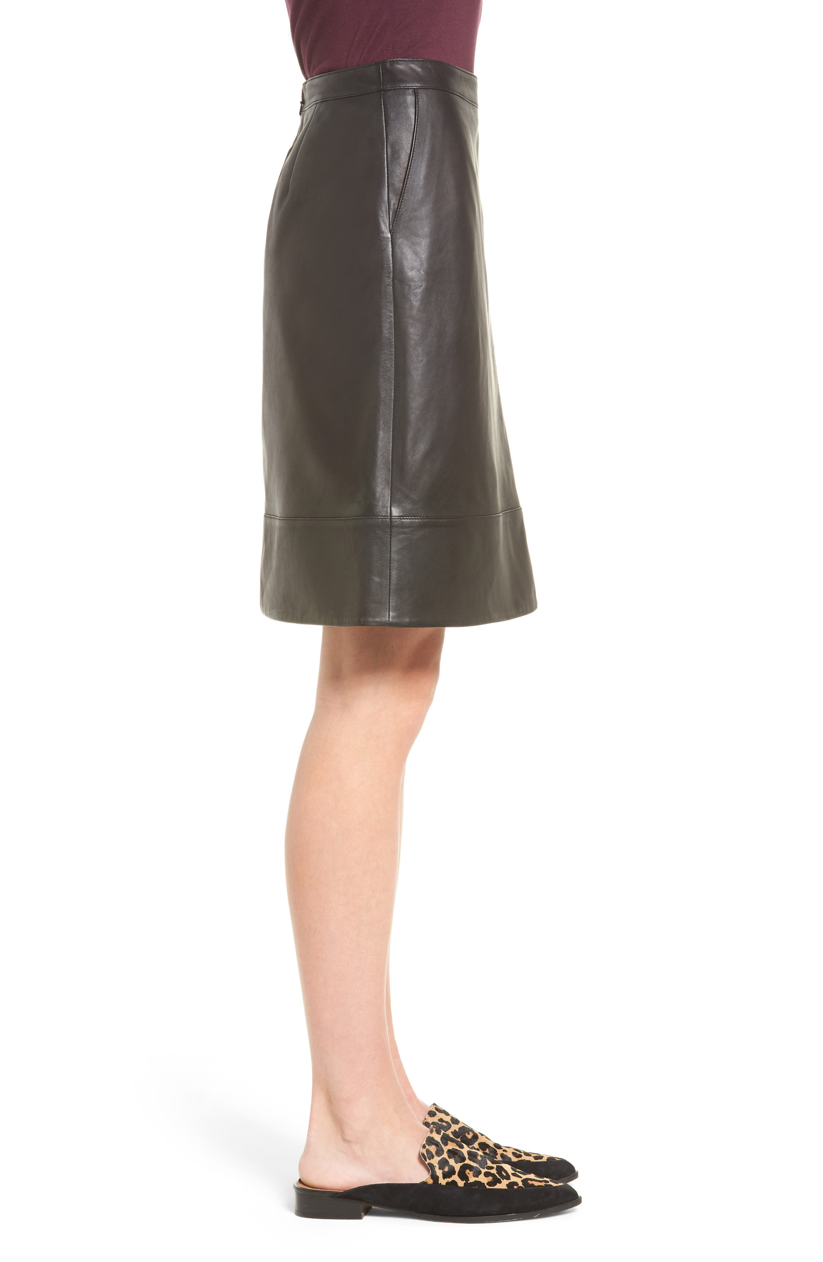 A-Line Leather Skirt,                             Alternate thumbnail 3, color,                             001