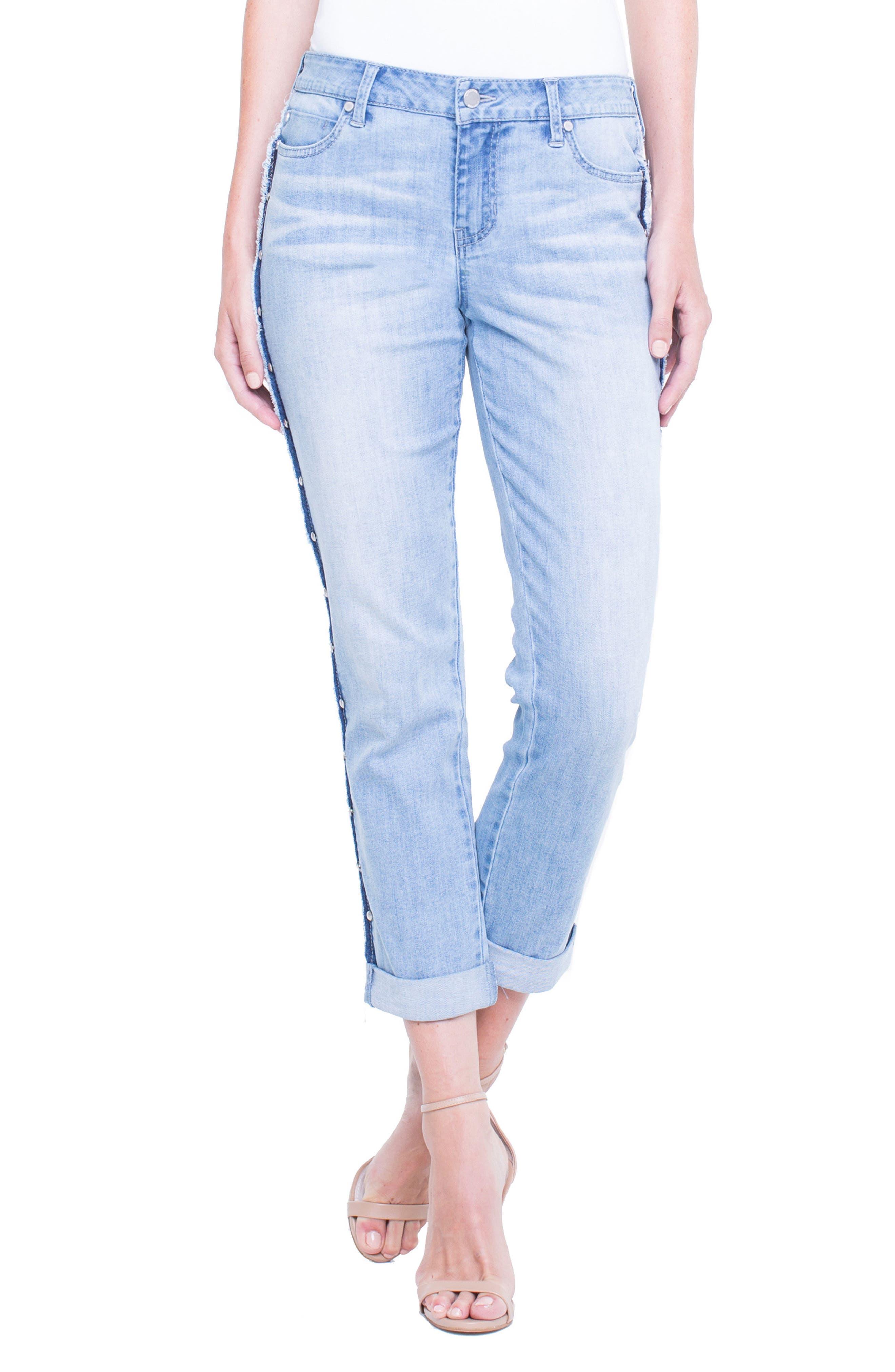 Perry Slim Side Stud Boyfriend Jeans,                             Main thumbnail 1, color,                             401