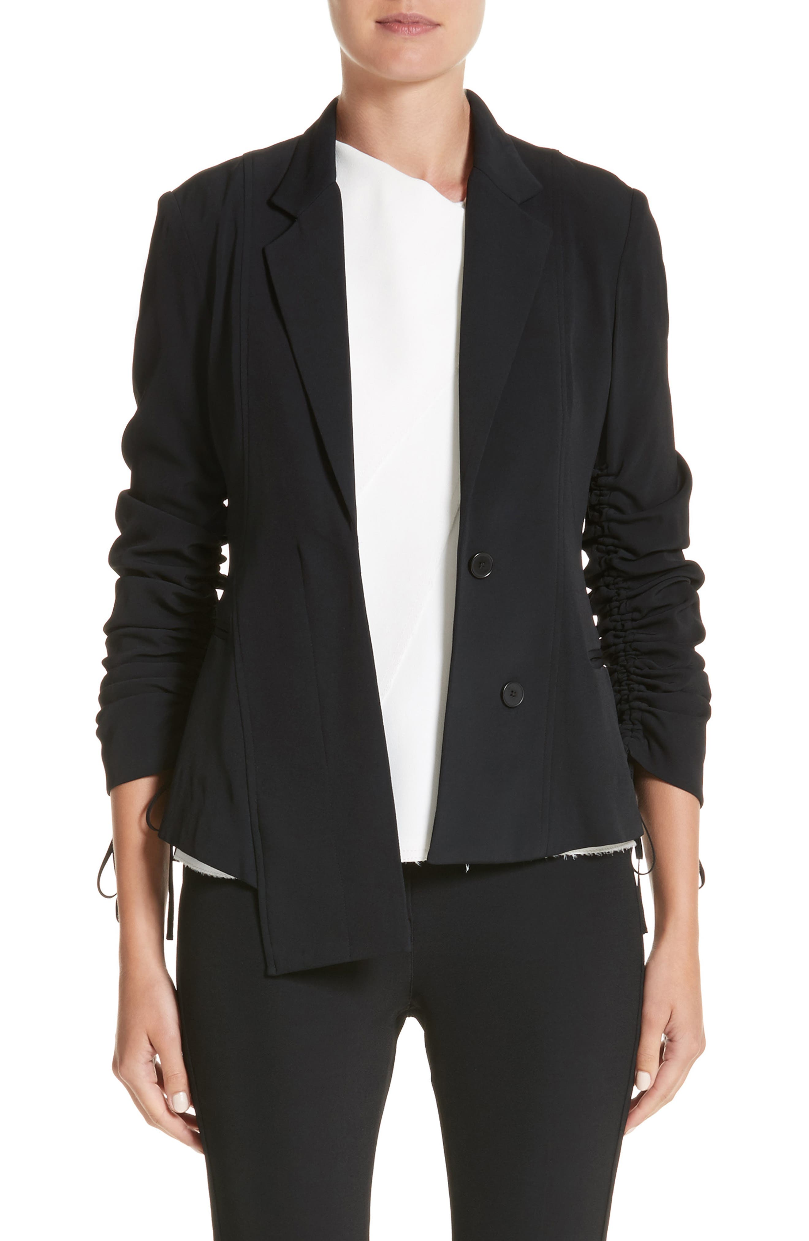 Twill Ruched Sleeve Blazer,                             Main thumbnail 1, color,                             001
