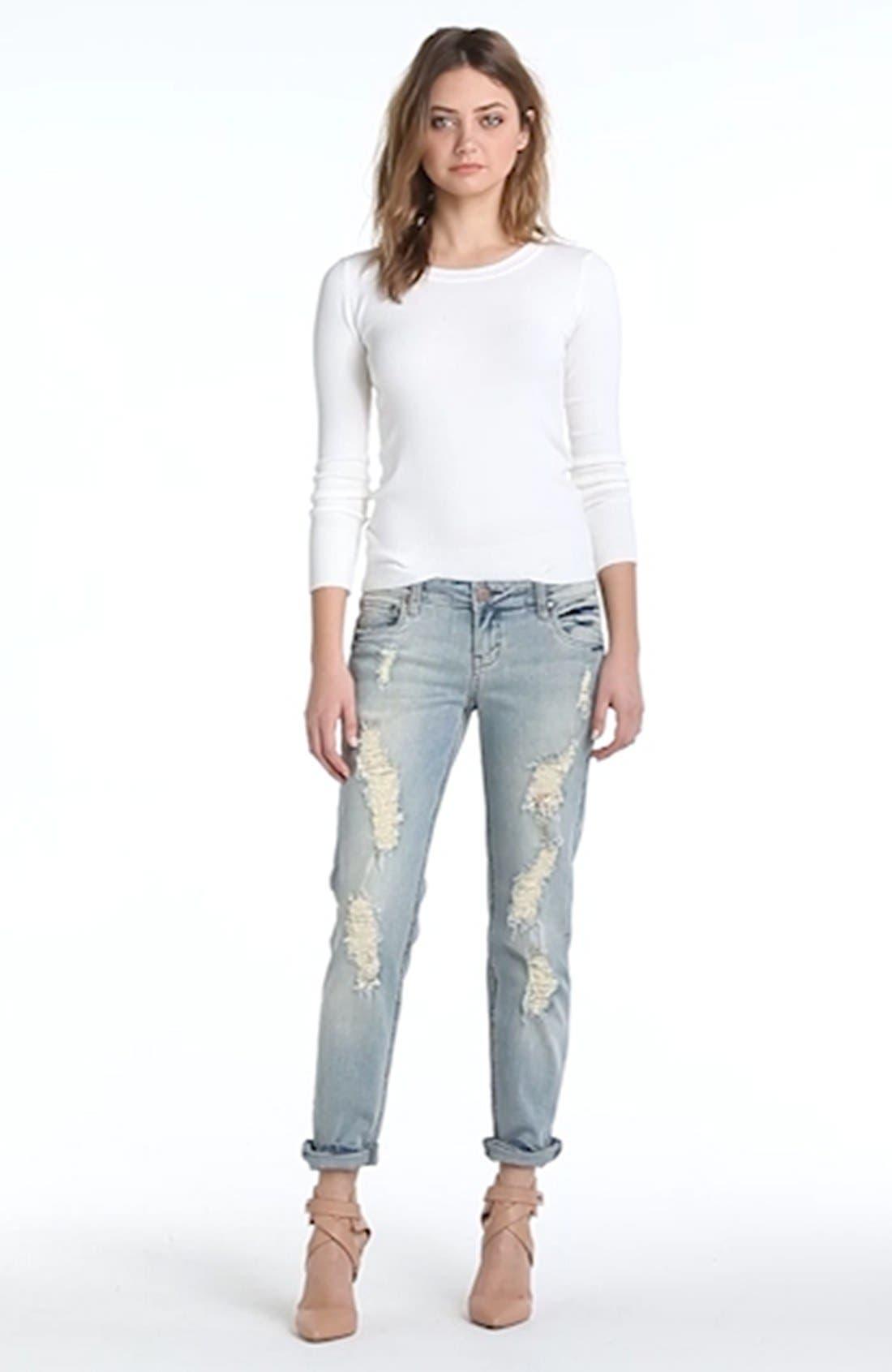 SUN & SHADOW,                             Destroyed Boyfriend Jeans,                             Alternate thumbnail 4, color,                             450