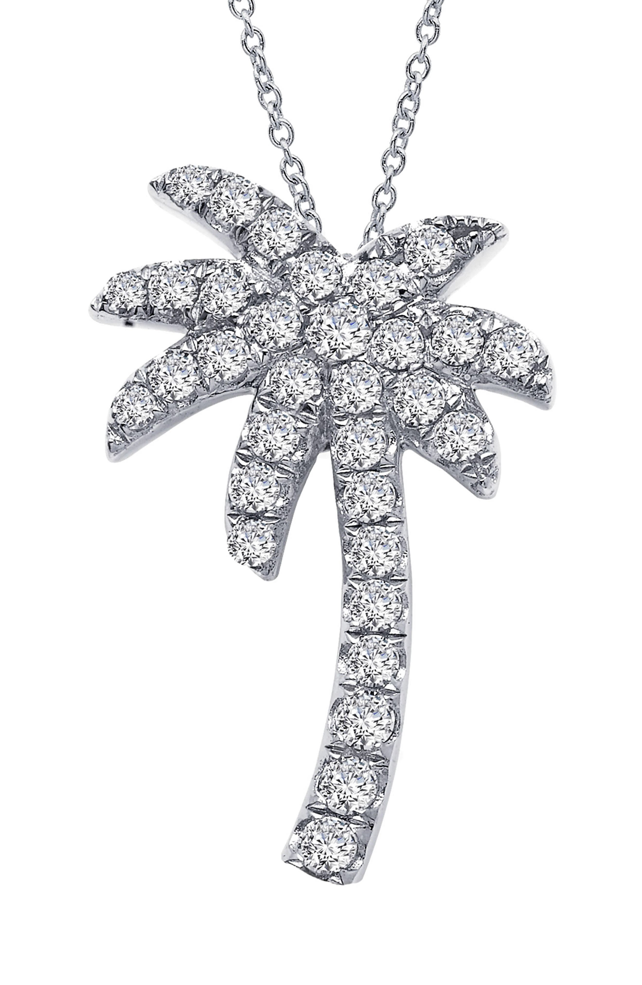 Palm Tree Simulated Diamond Pendant Necklace,                             Main thumbnail 1, color,                             SILVER