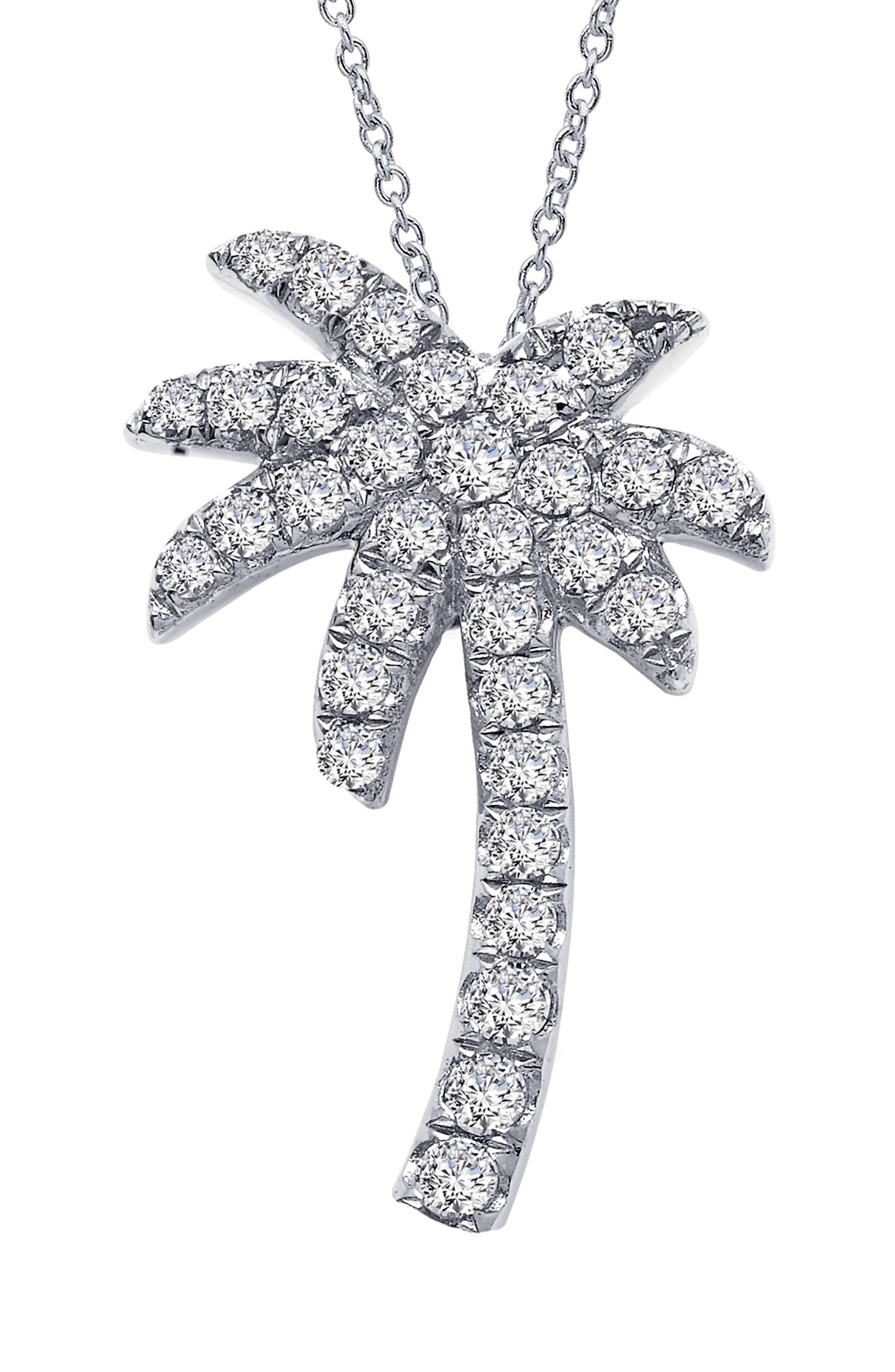 Palm Tree Simulated Diamond Pendant Necklace,                         Main,                         color, SILVER