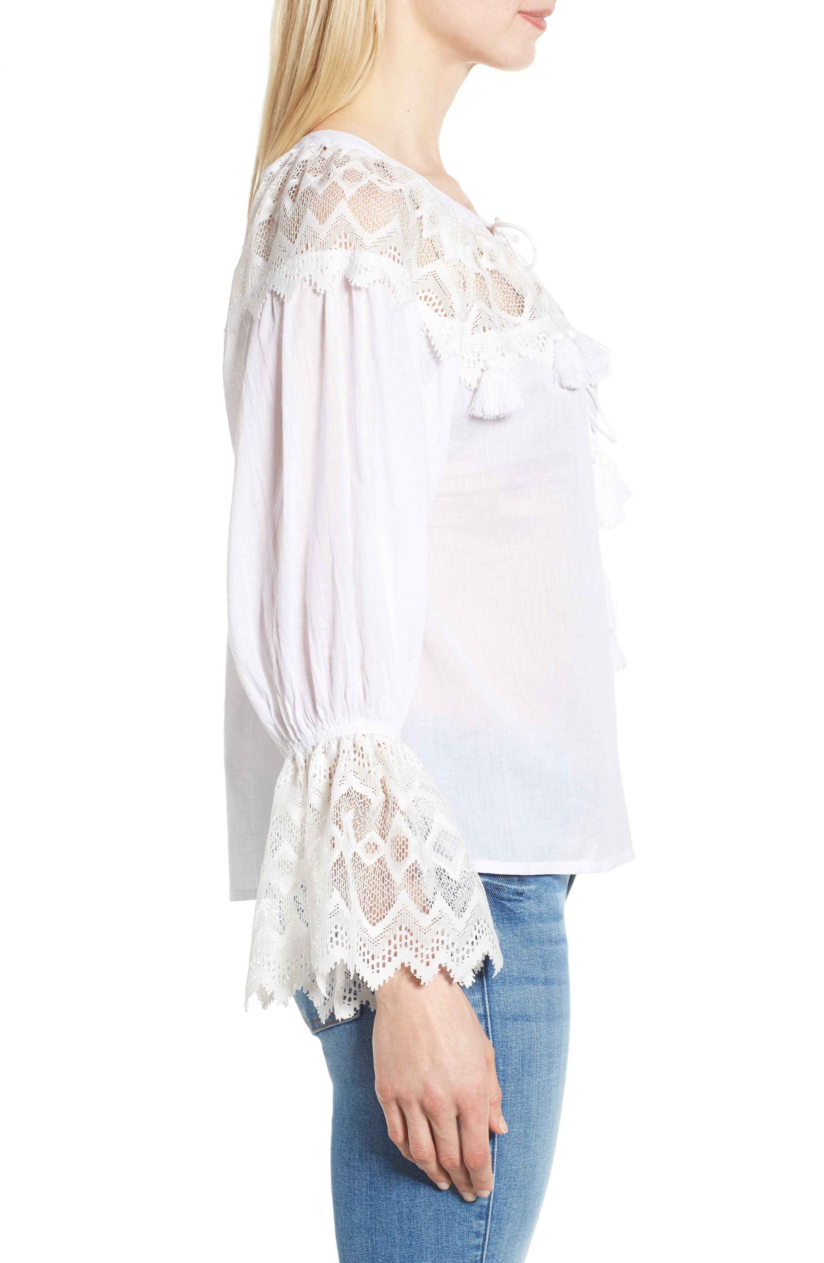 Berkley White Lace Cotton Blend Top,                             Alternate thumbnail 3, color,                             WHITE
