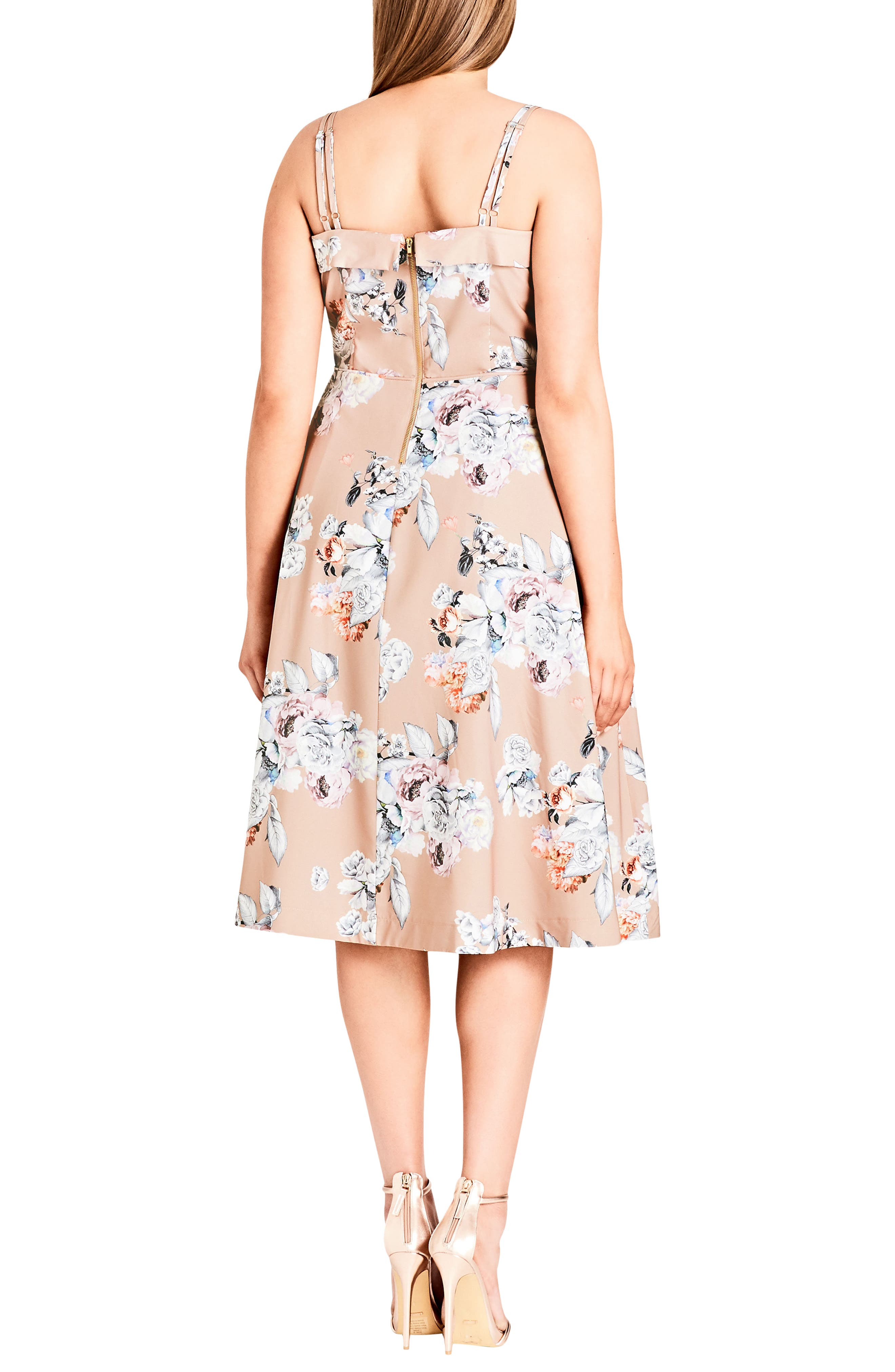 Paper Floral Tea Length Dress,                             Alternate thumbnail 2, color,                             PAPER FLORAL