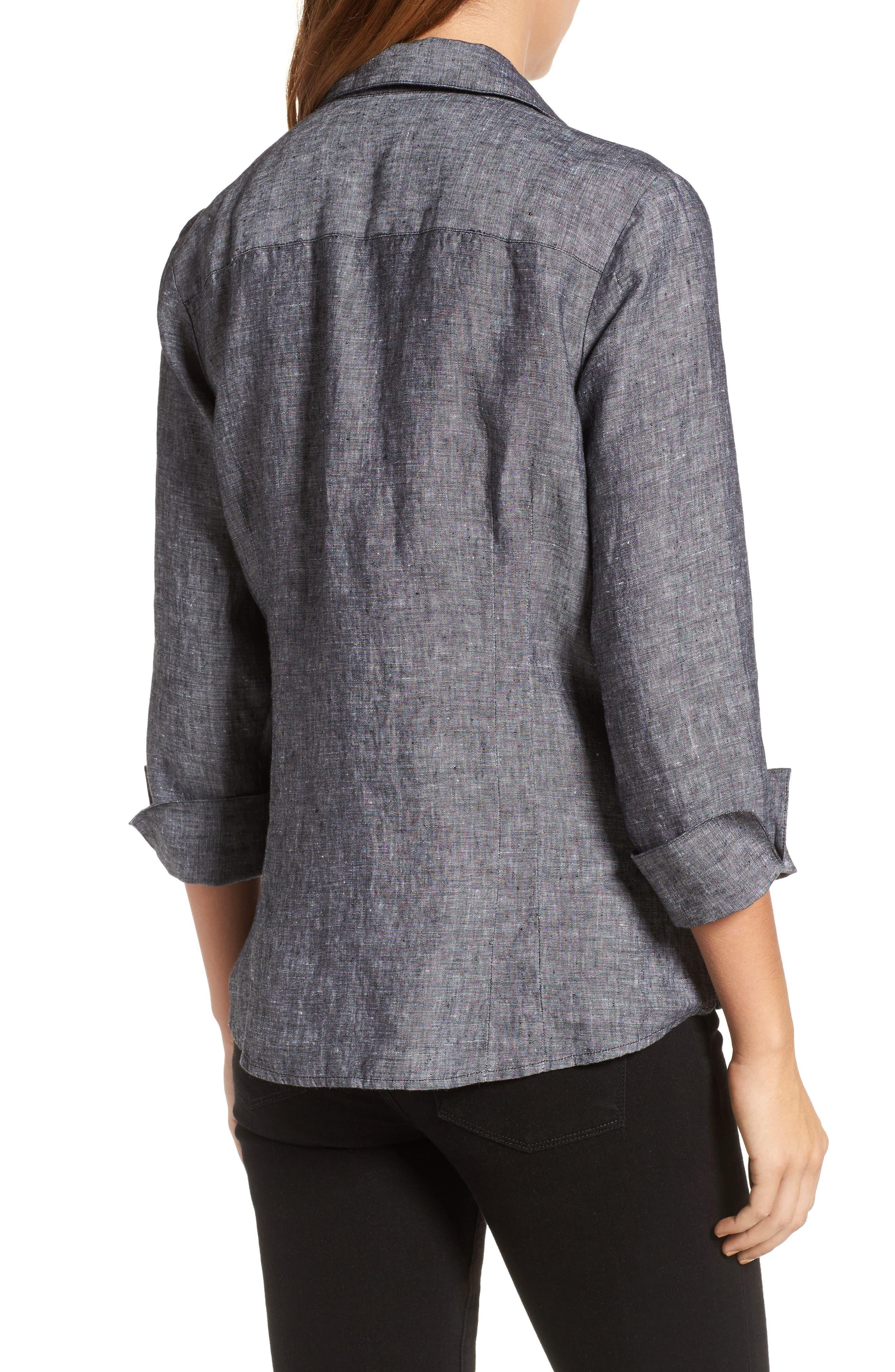 Linen Chambray Shirt,                             Alternate thumbnail 2, color,                             001