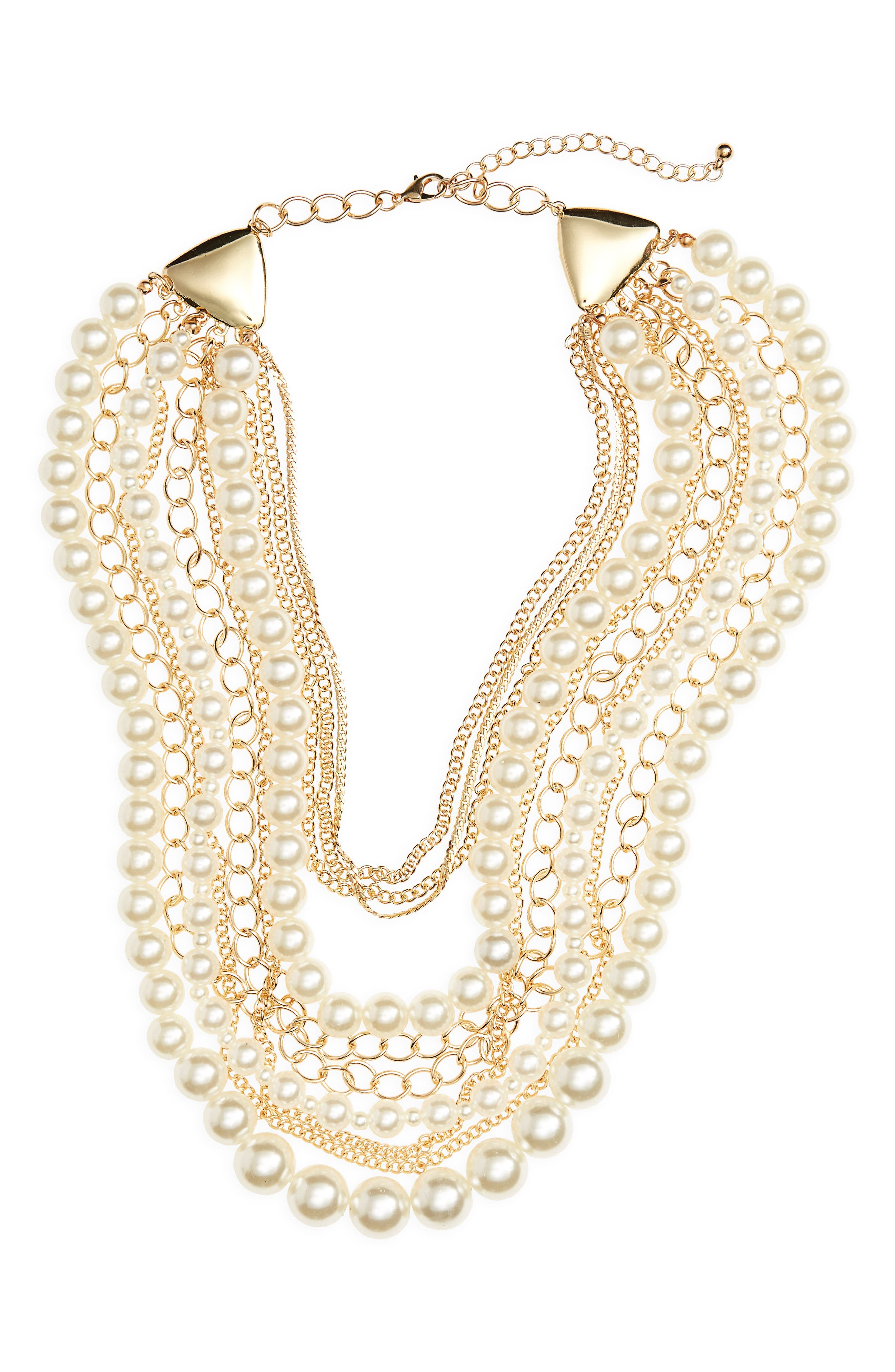 Imitation Pearl Chain Necklace,                         Main,                         color, 710