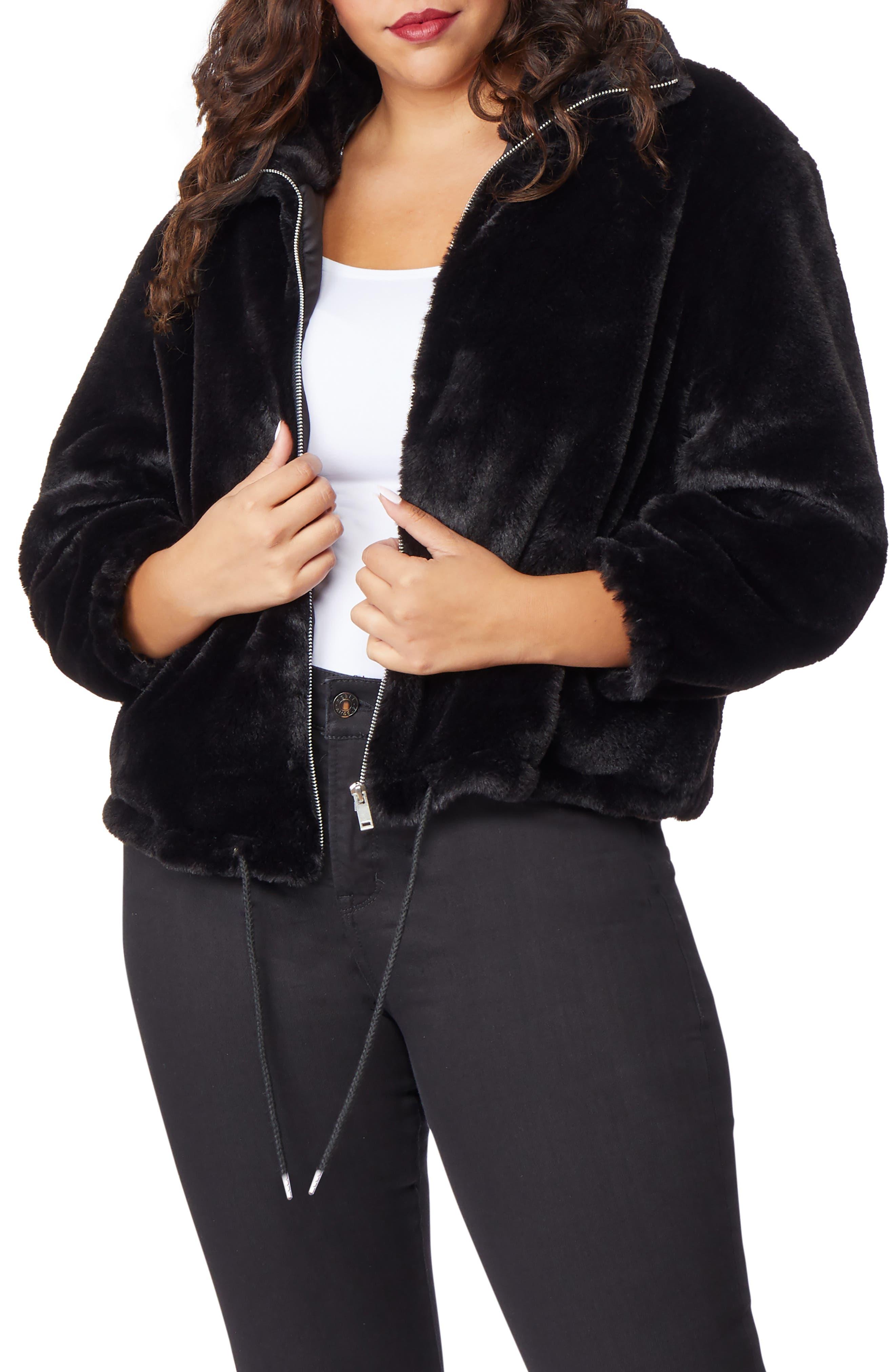 Super Soft Faux Fur Jacket,                             Alternate thumbnail 4, color,                             002