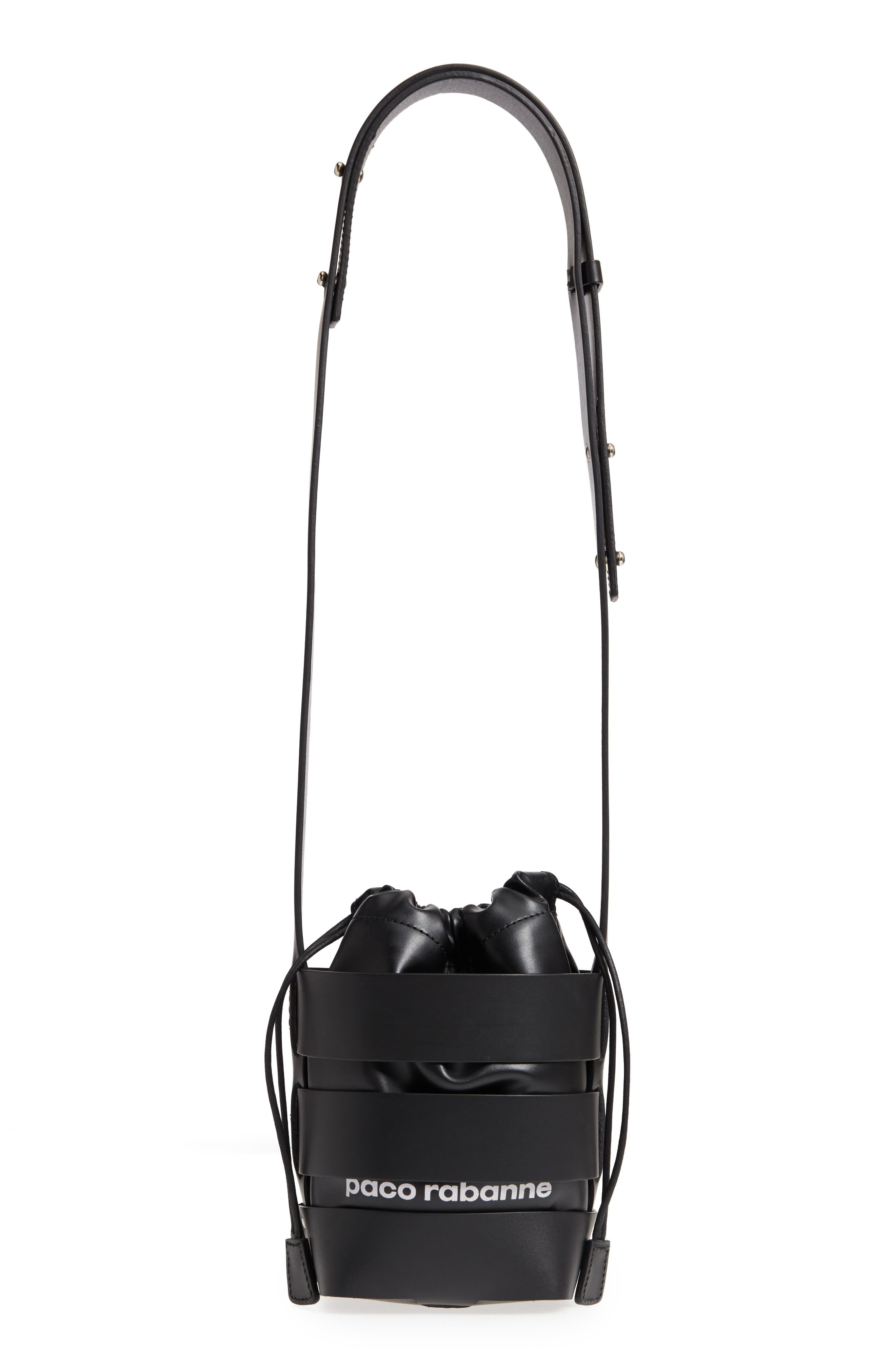 Small Mirror Cage Faux Leather Hobo Bag,                             Main thumbnail 1, color,                             BLACK