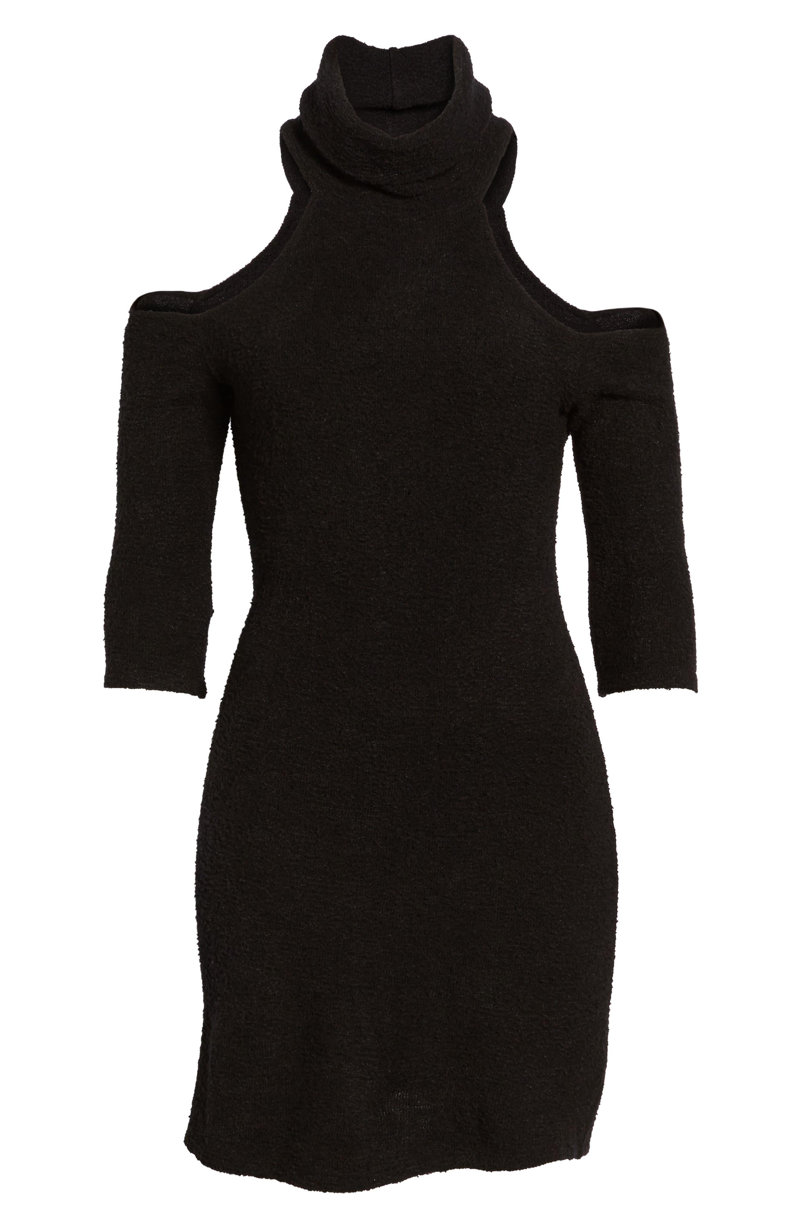 Cold Shoulder Turtlenck Sweater Dress,                             Alternate thumbnail 6, color,
