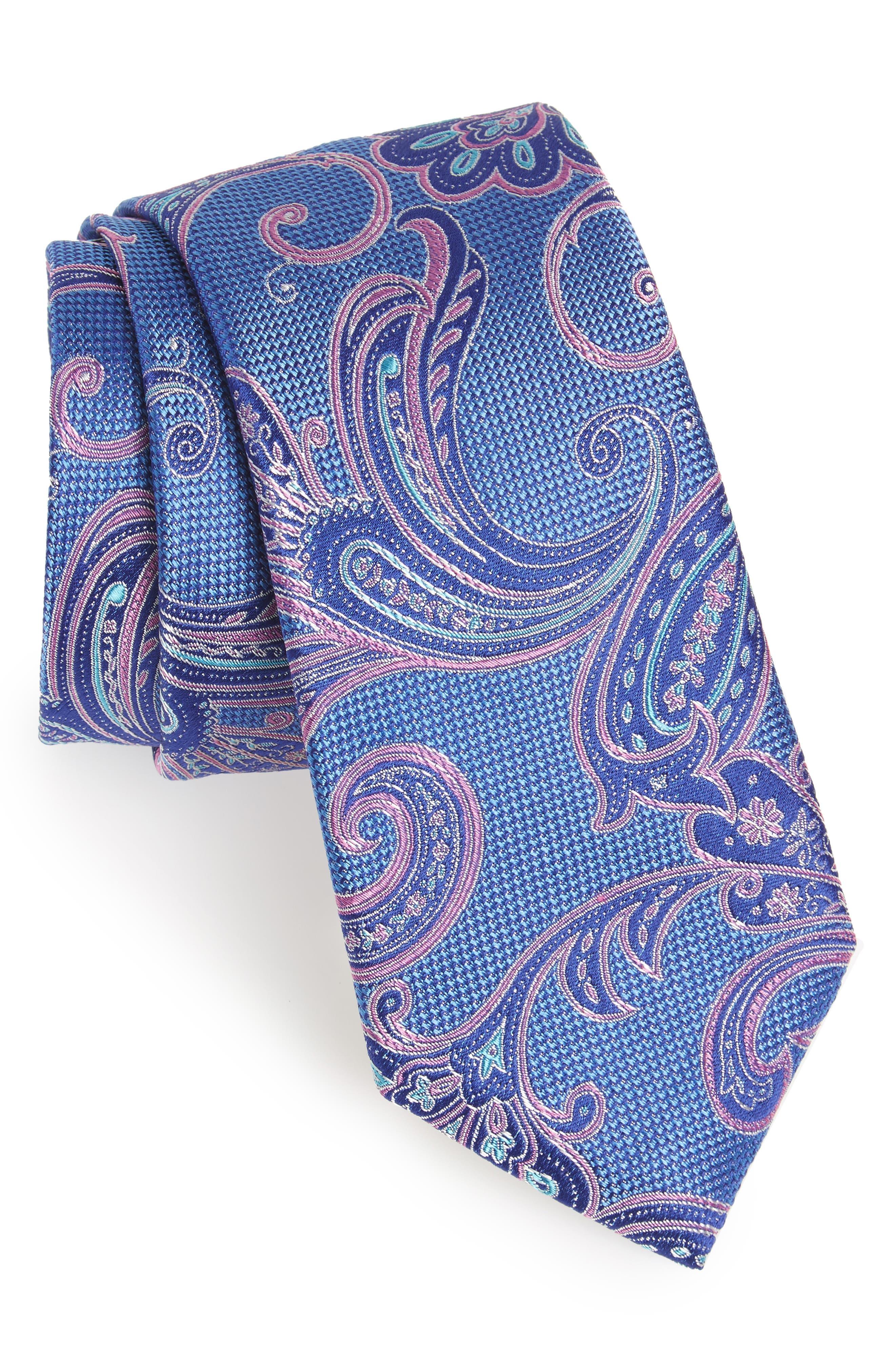 Bennett Paisley Silk Tie,                             Main thumbnail 1, color,                             OCEAN