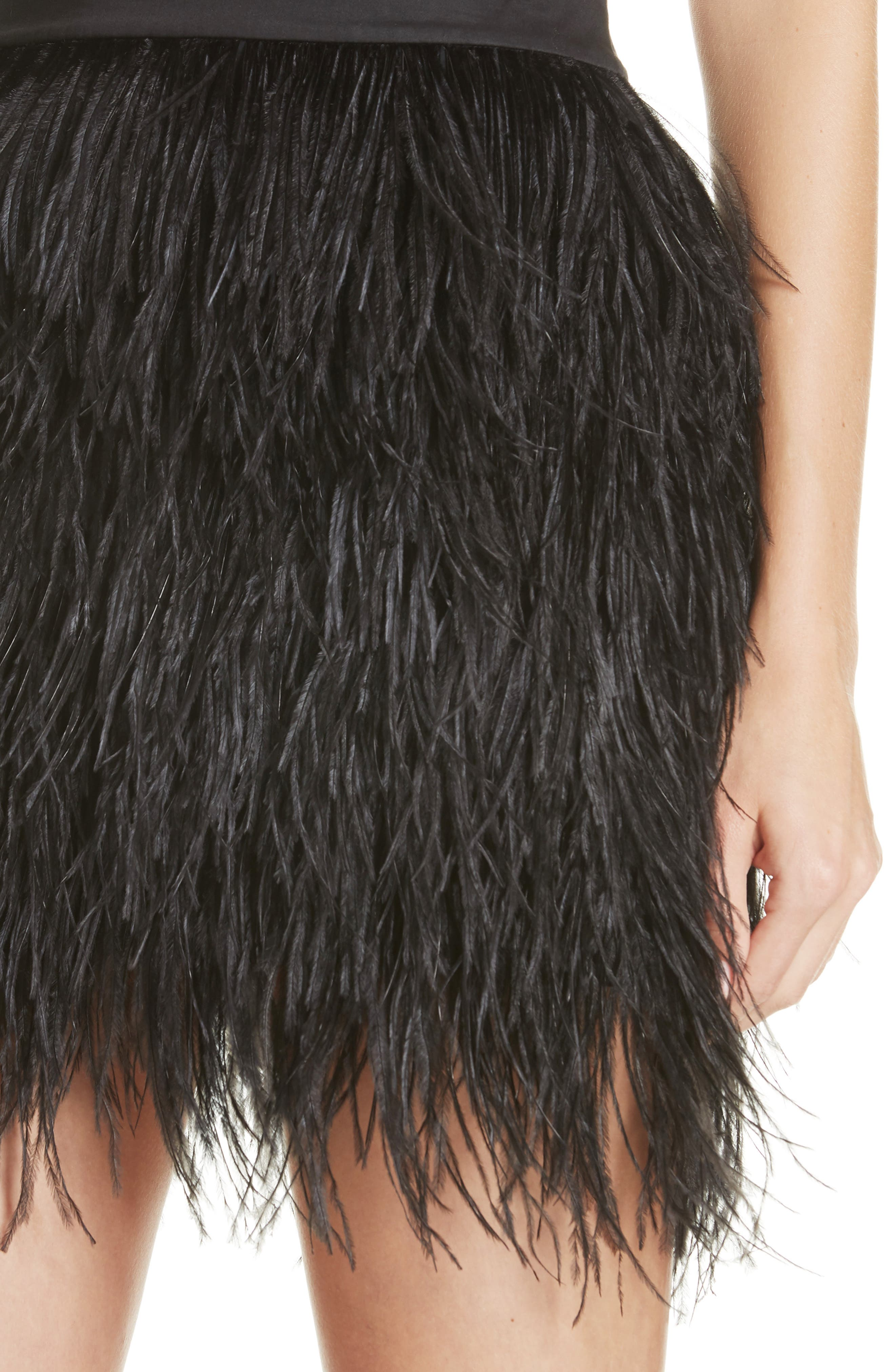 Ostrich Feather Miniskirt,                             Alternate thumbnail 4, color,                             001