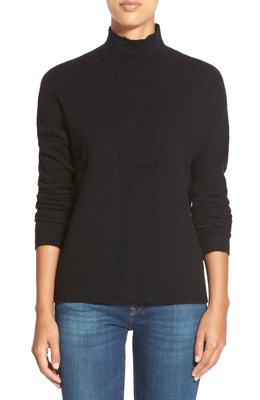 Pattern Front Mock Neck Sweater,                             Main thumbnail 1, color,                             001