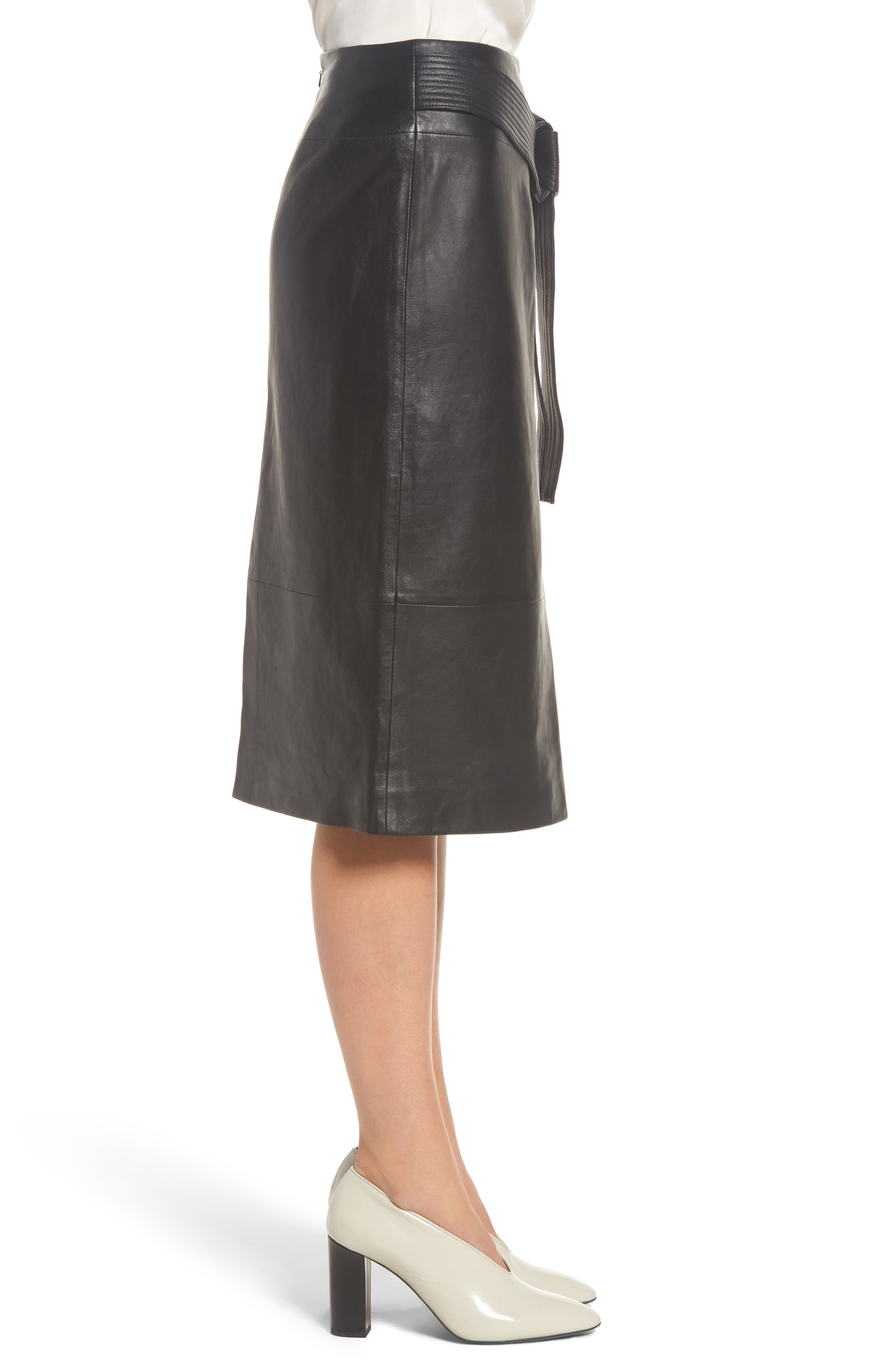 Belted Leather Skirt,                             Alternate thumbnail 3, color,                             001