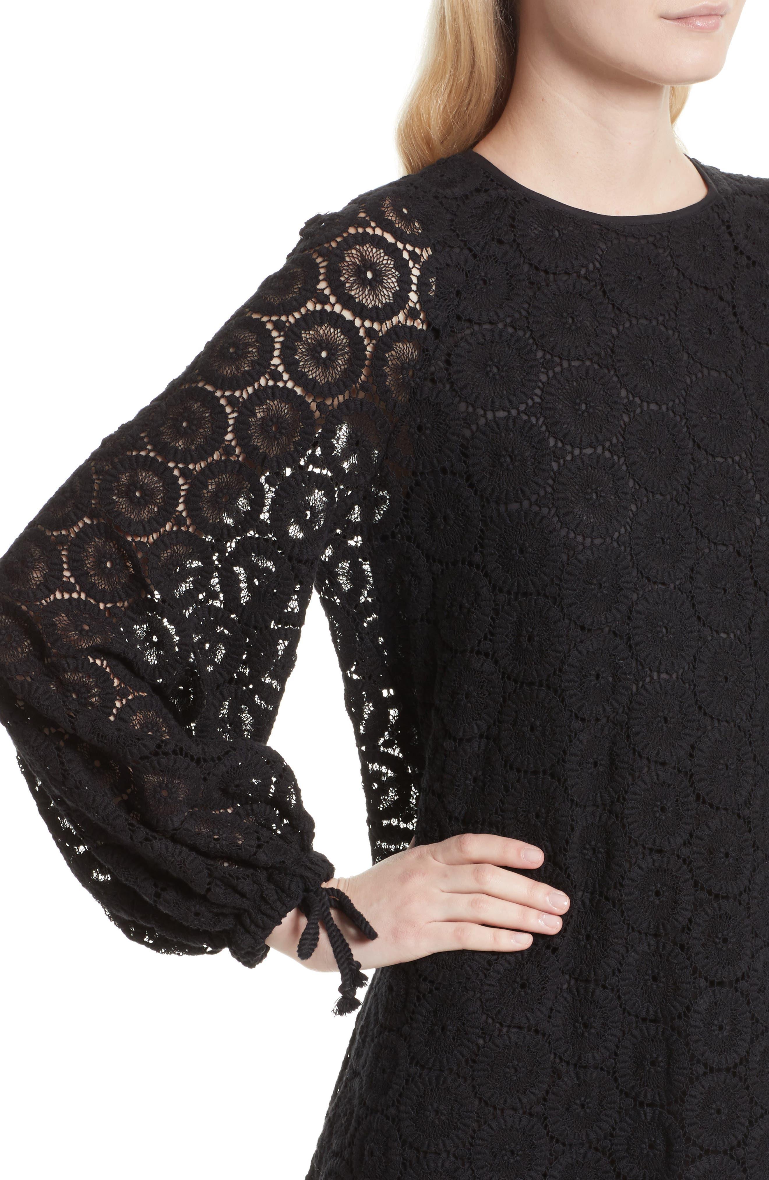 Cotton Crochet Shift Dress,                             Alternate thumbnail 4, color,                             001