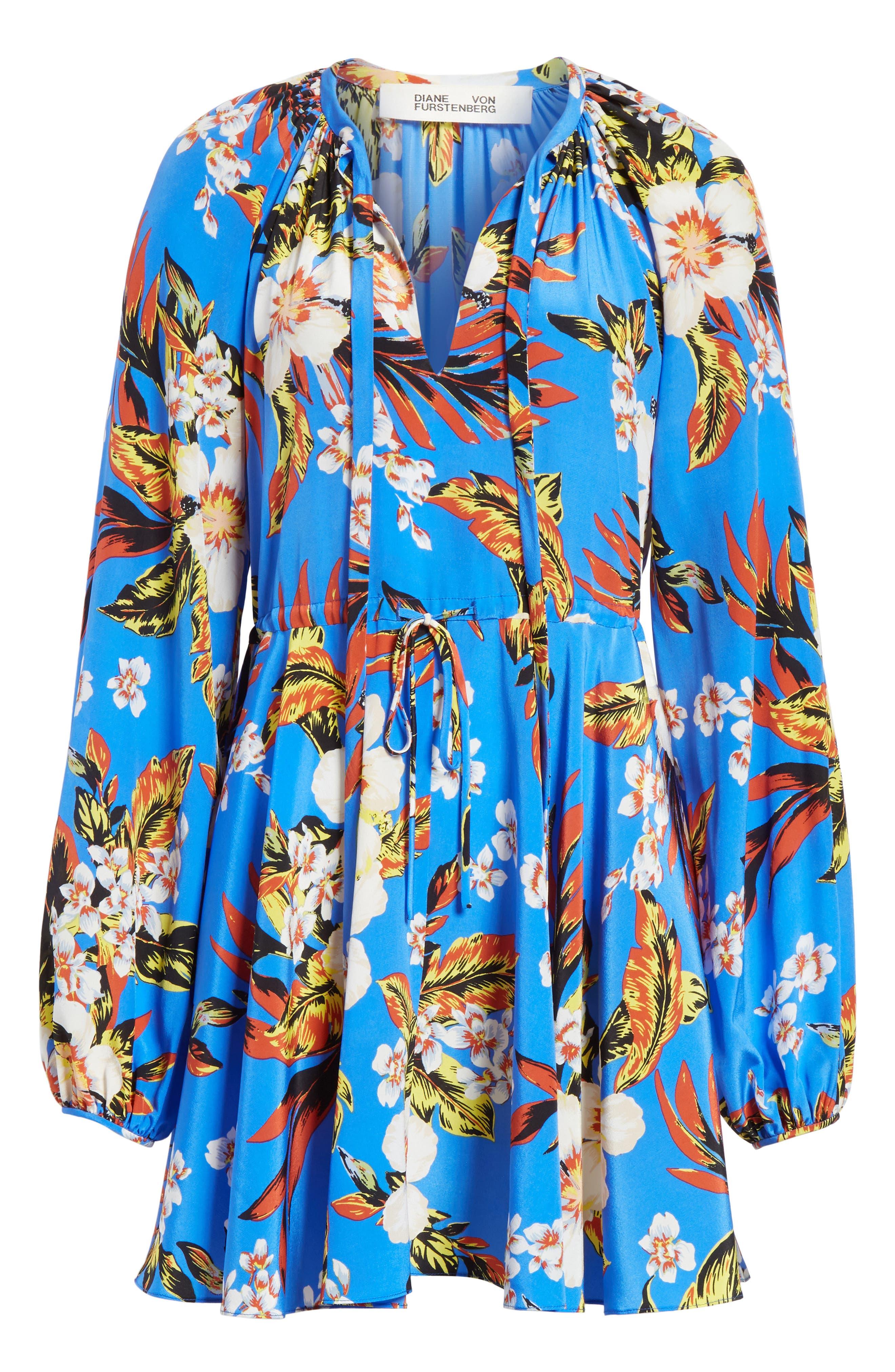 Tie Waist Floral Silk Dress,                             Alternate thumbnail 6, color,                             453