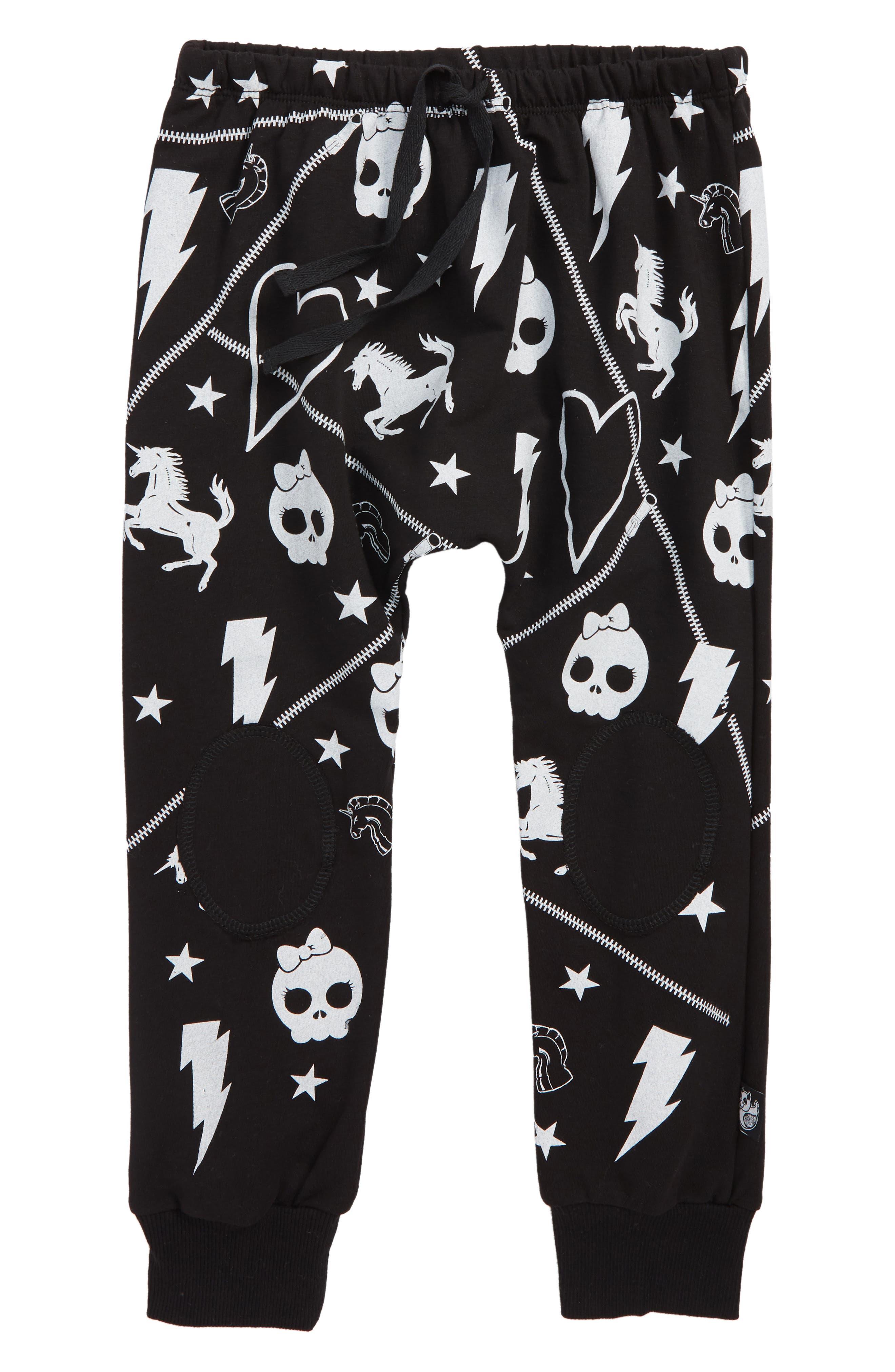 Skulls and Stars Sweatpants,                             Main thumbnail 1, color,                             BLACK