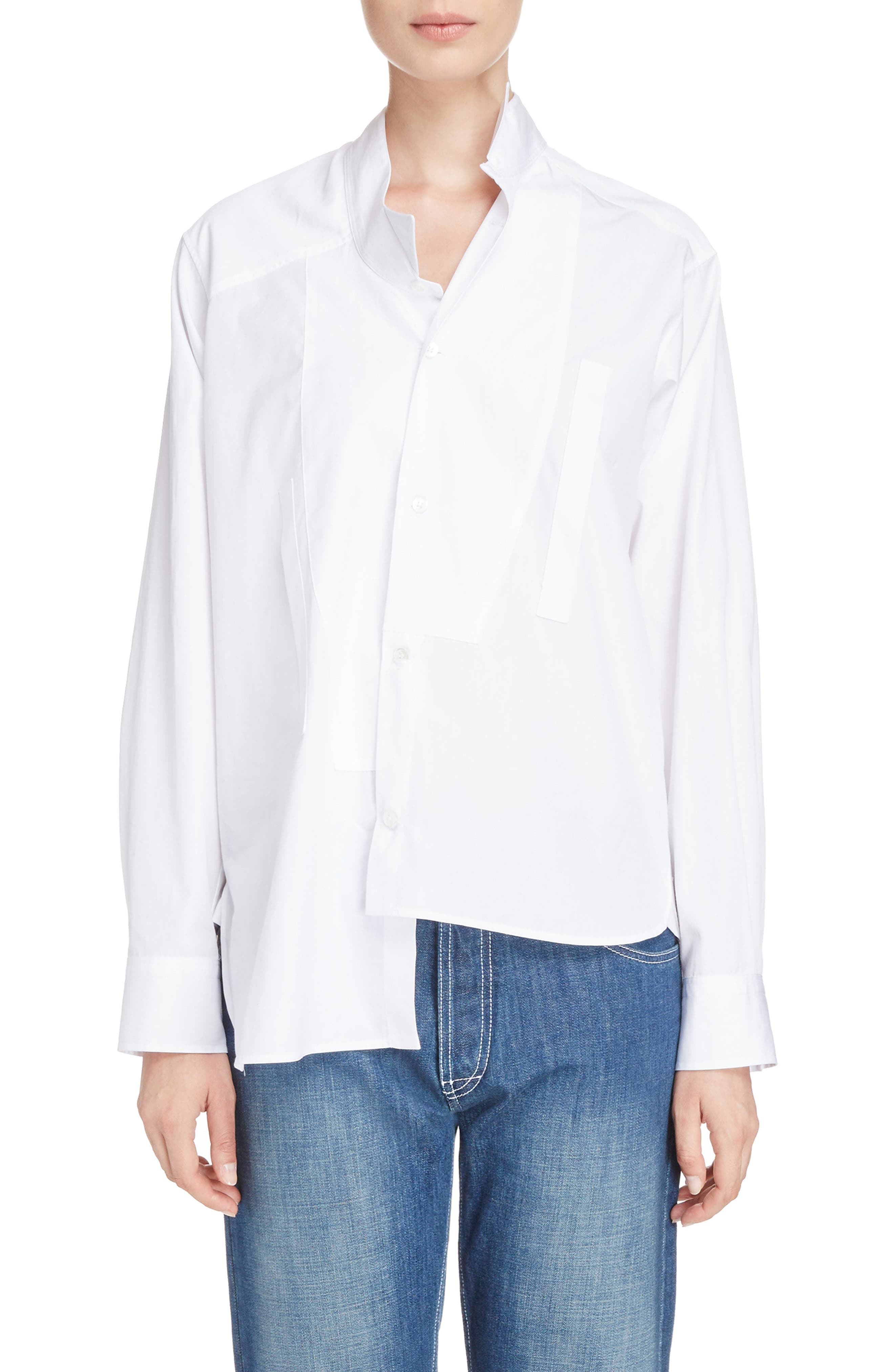 Cotton Poplin Patchwork Shirt,                             Main thumbnail 1, color,                             WHITE