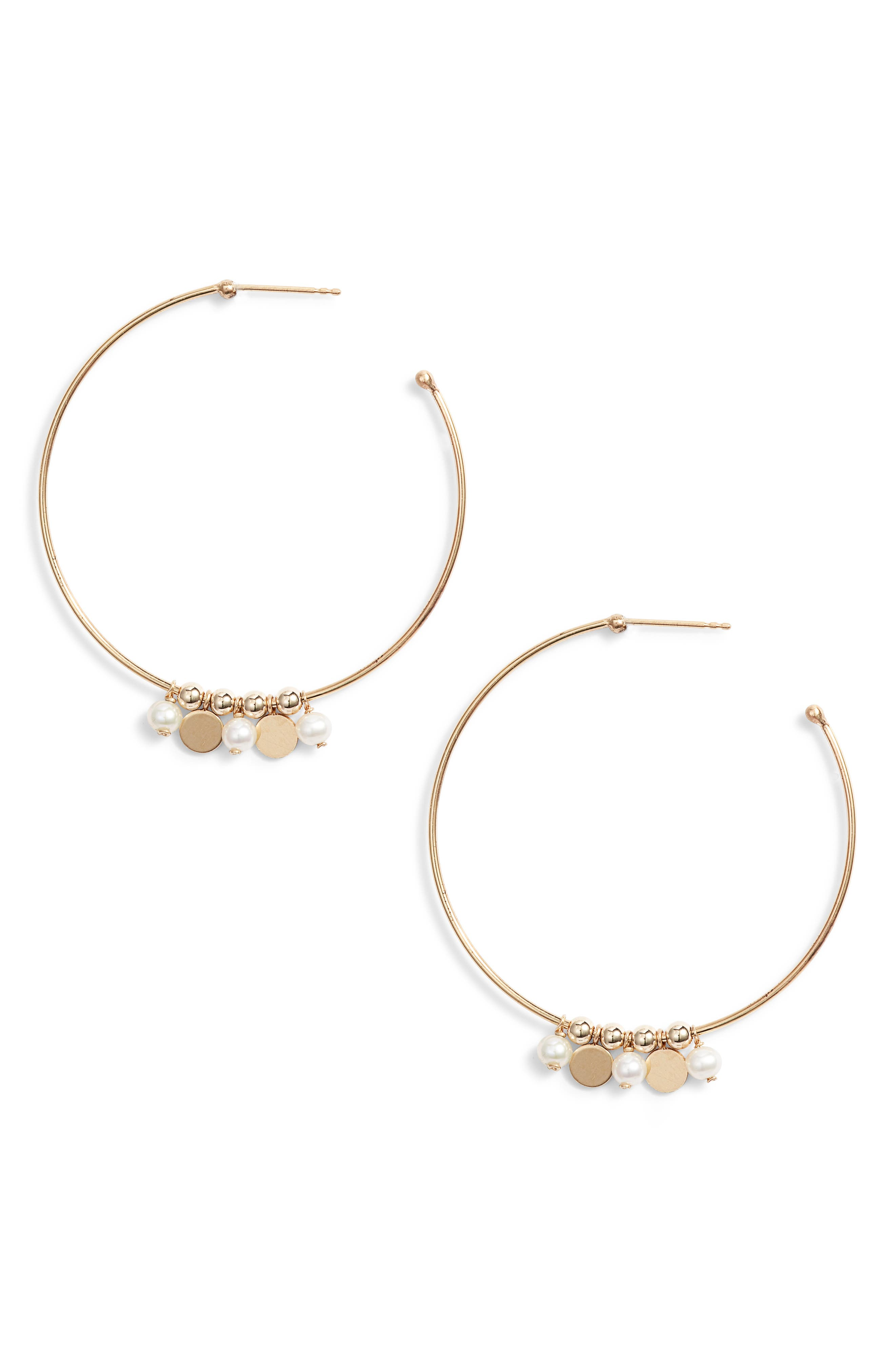Confetti Pearl Gold Hoop Earrings,                             Main thumbnail 1, color,                             YELLOW GOLD/ WHITE PEARL