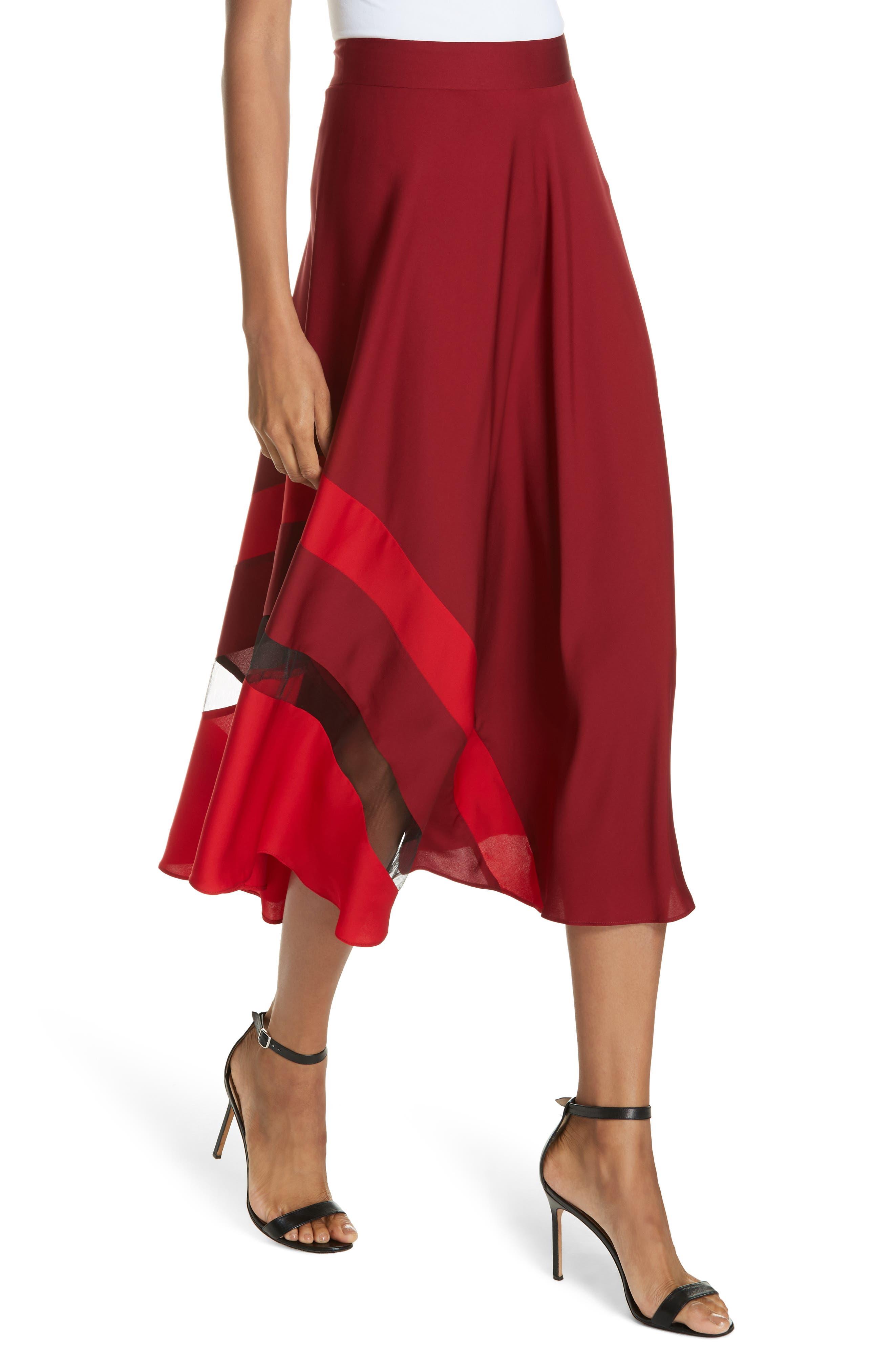 Asymmetrical Stripe Stretch Silk Midi Skirt,                             Alternate thumbnail 4, color,                             BURGUNDY/ RUBY