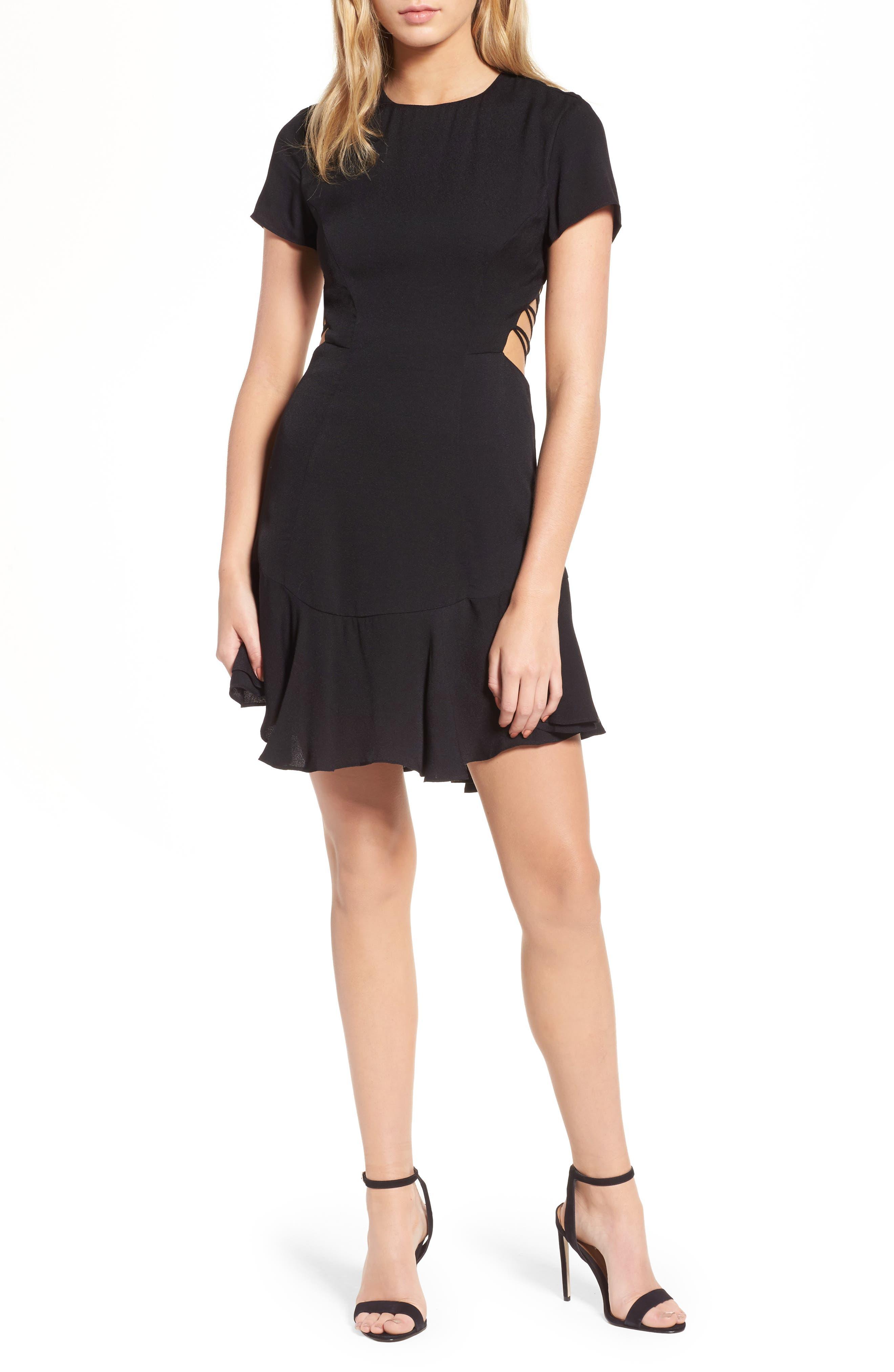 Chelsea Lattice Back Fit & Flare Dress,                         Main,                         color,