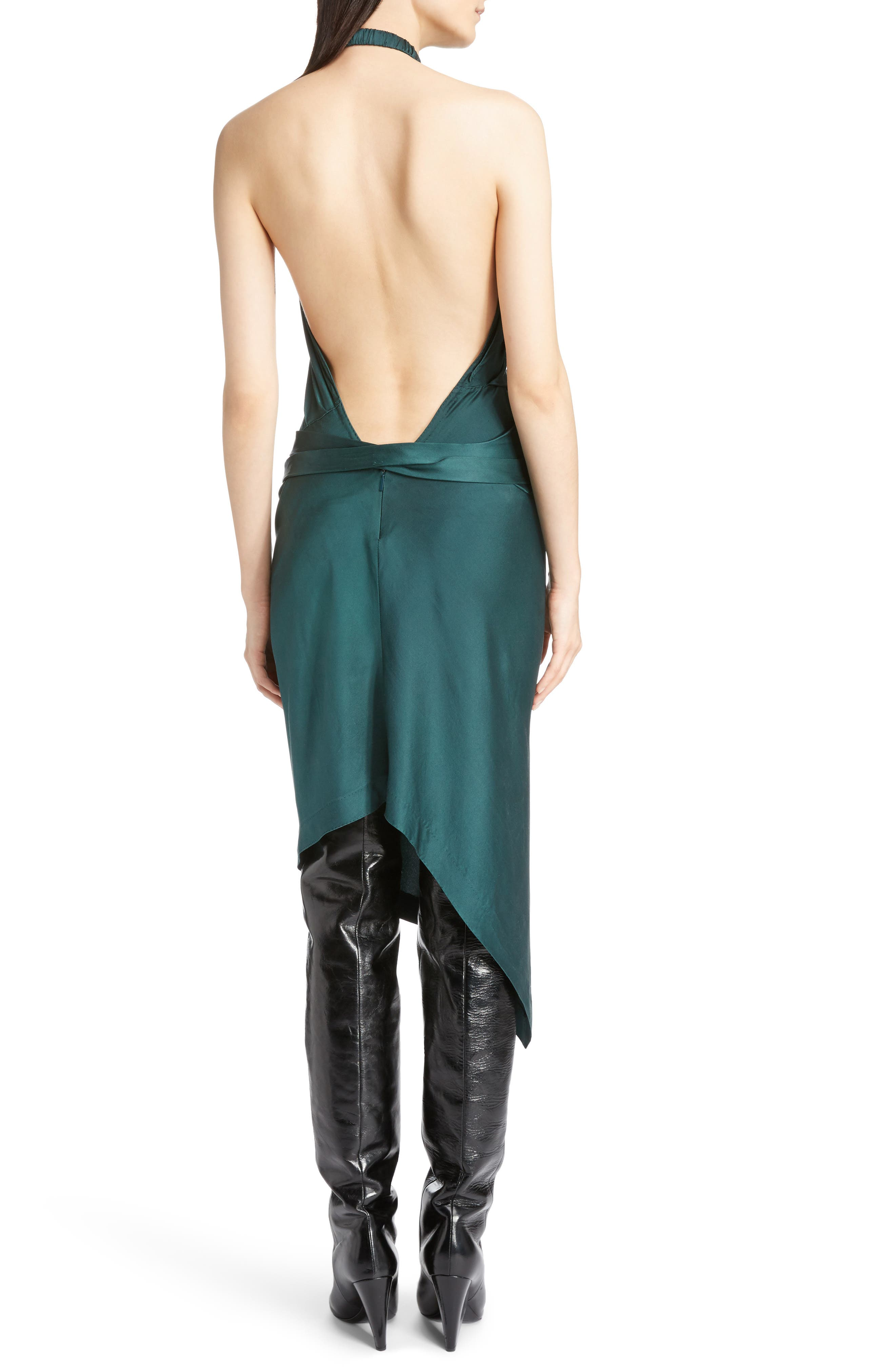 Satin Halter Dress,                             Alternate thumbnail 2, color,                             300